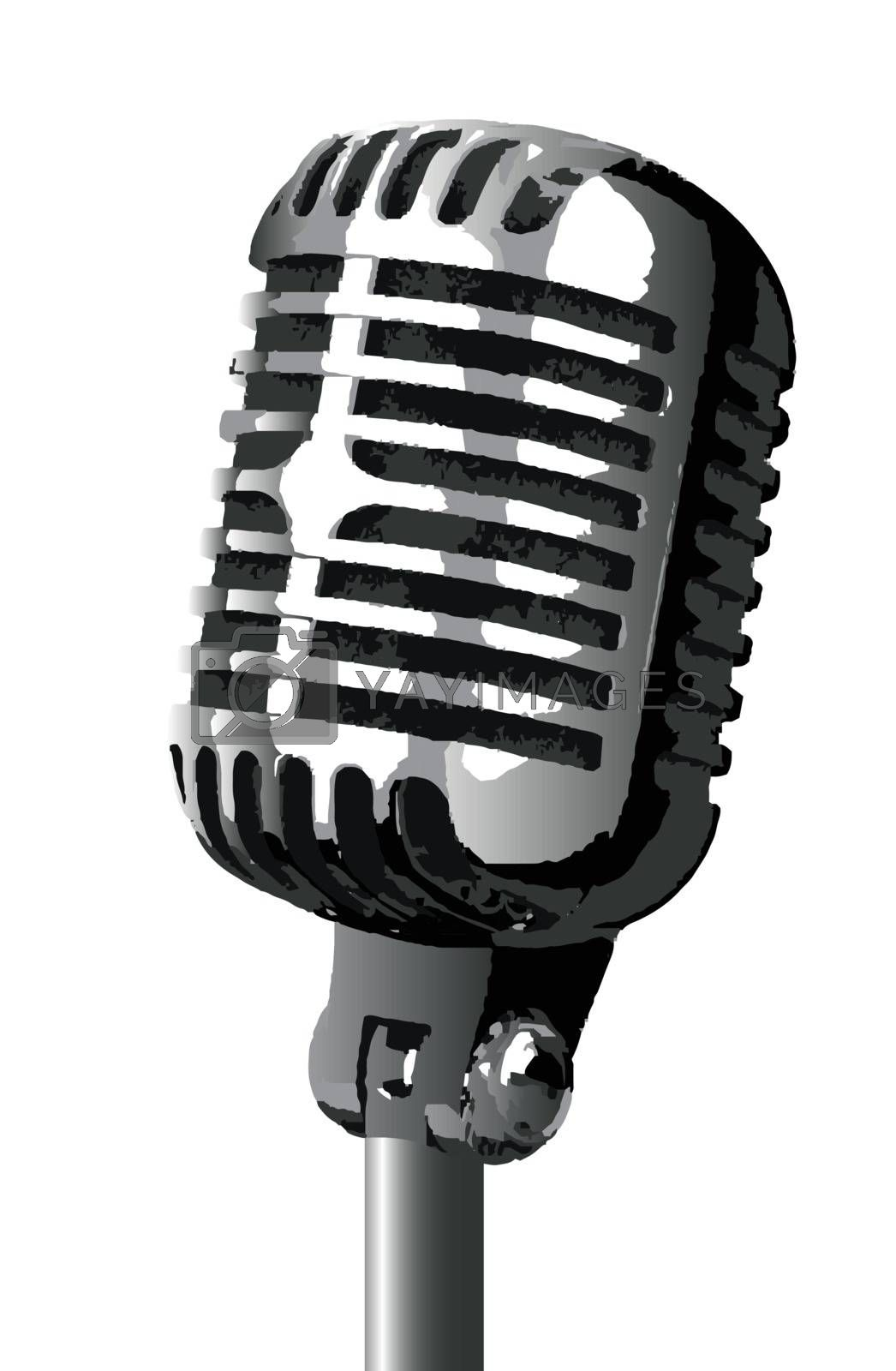 A stage microphone isolated over a white background