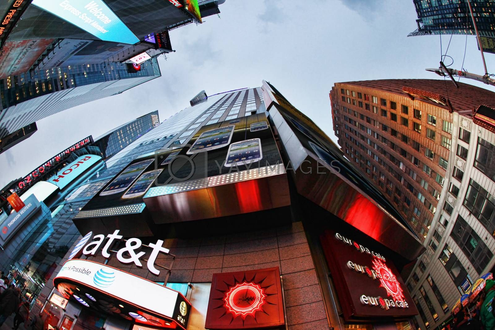 New York, NY, USA - October 9, 2012: Times Square, featured with Broadway Theaters and huge number of LED signs, is a symbol of New York City and the United States, October 9, 2012 in Manhattan, New York City
