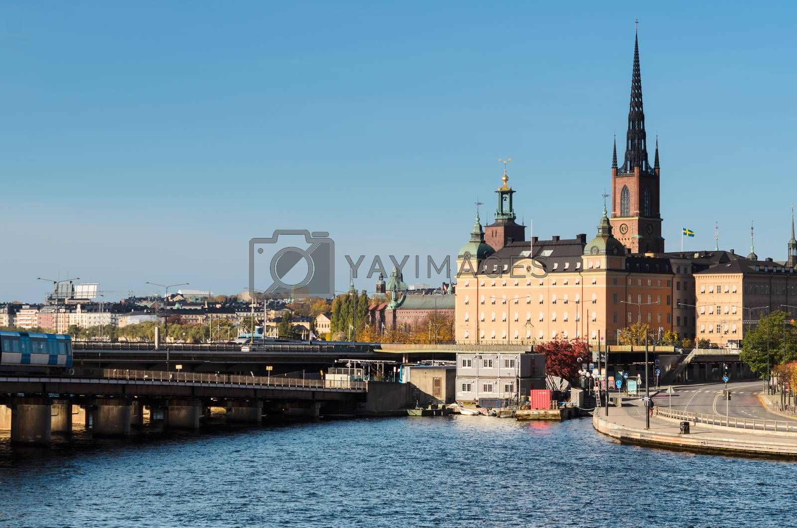 Panoramic view of bridges and embankment in Stockholm