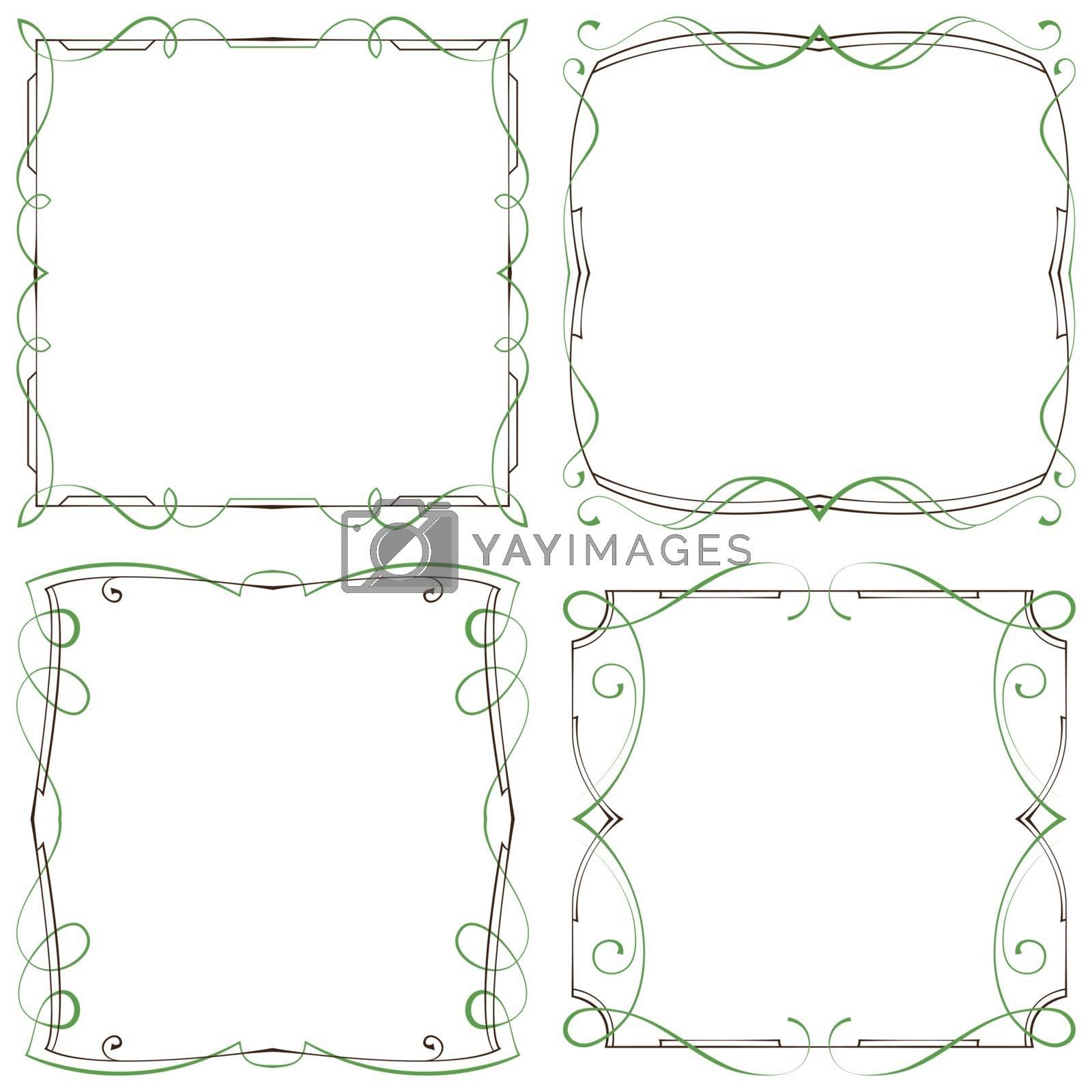 vector set of four decorative multilayer frameworks