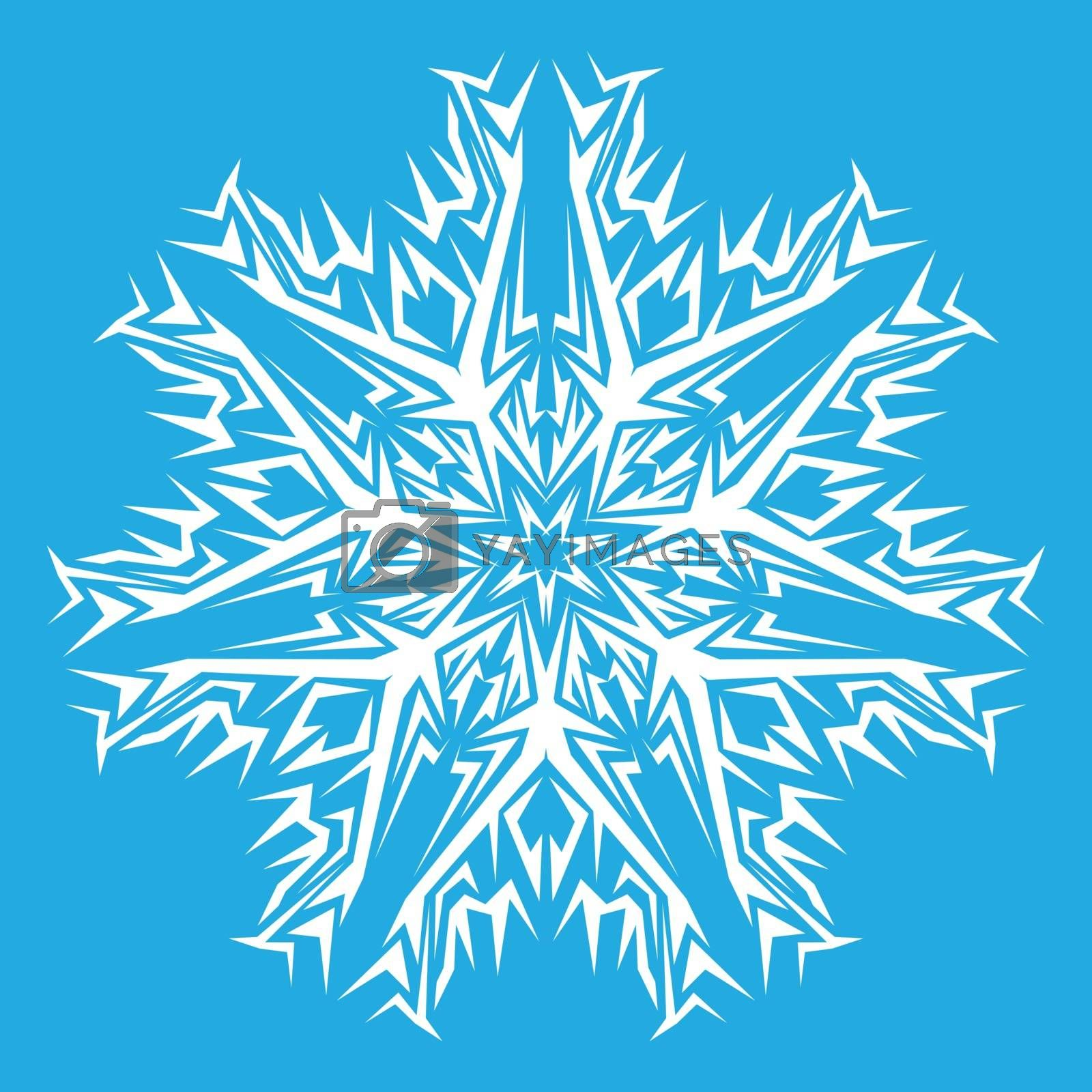 Vector decorative white snowflakes on a blue background