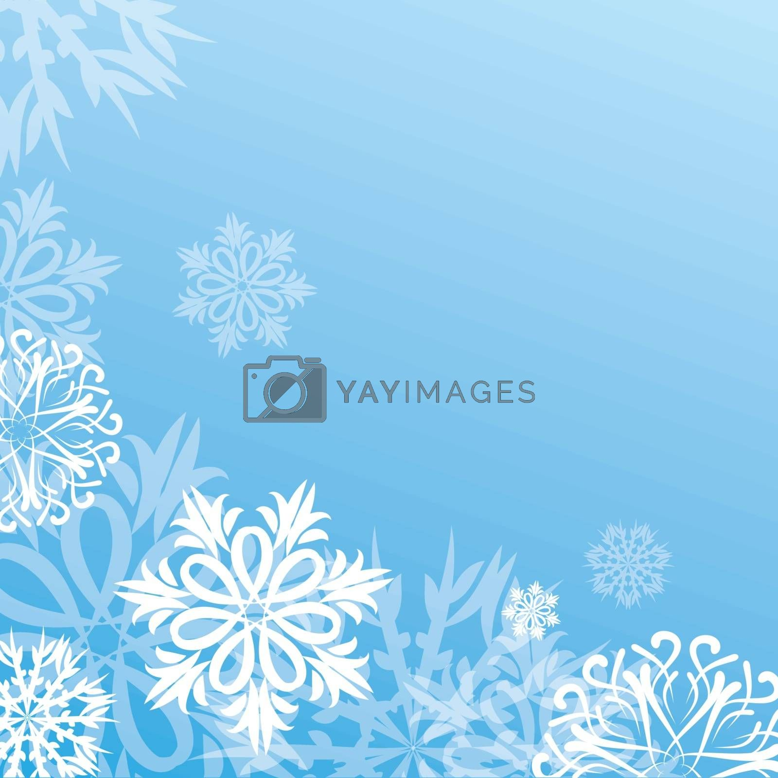 stock vector christmas background with snowflakes on blue