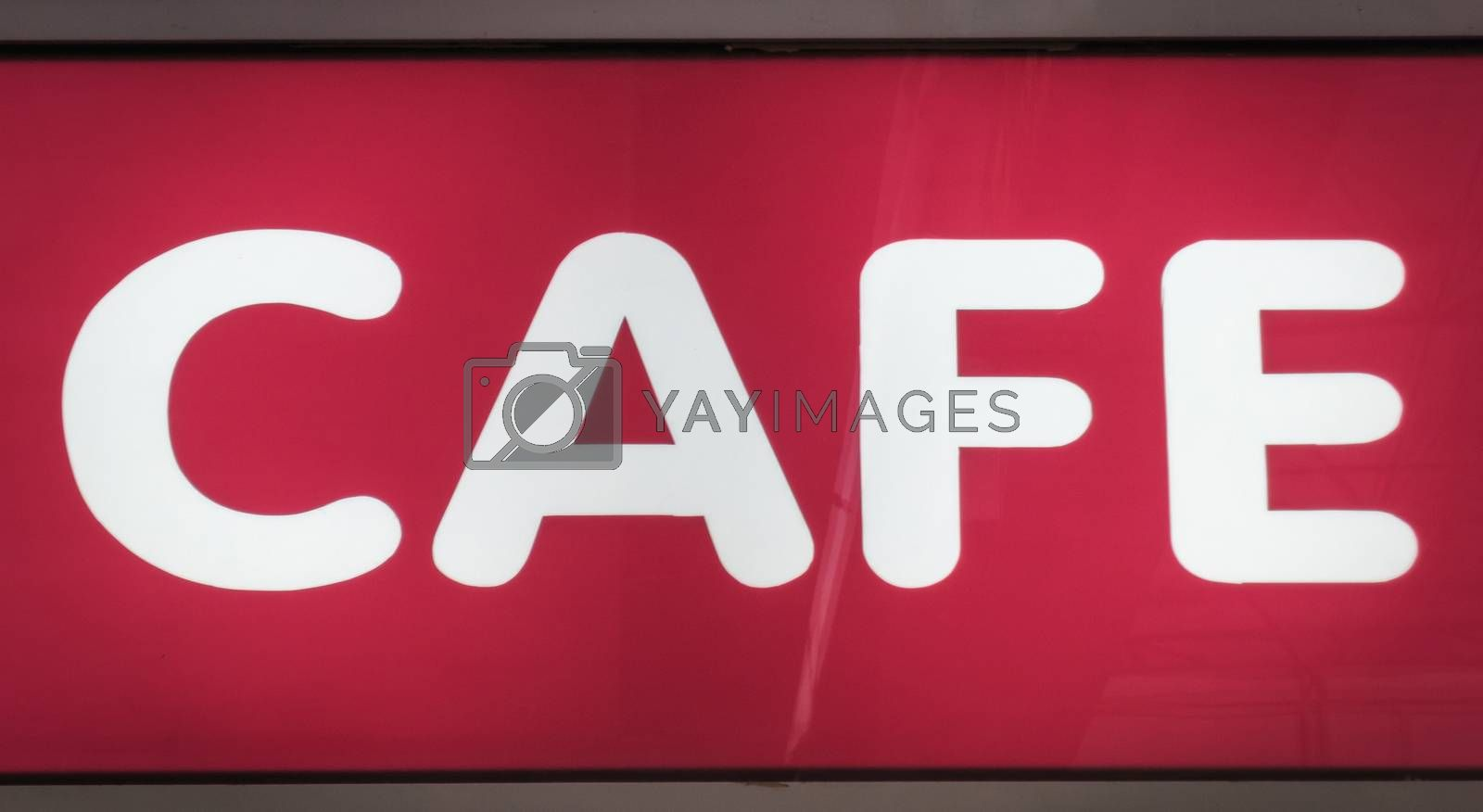 Cafe sign neon box vintage processing.