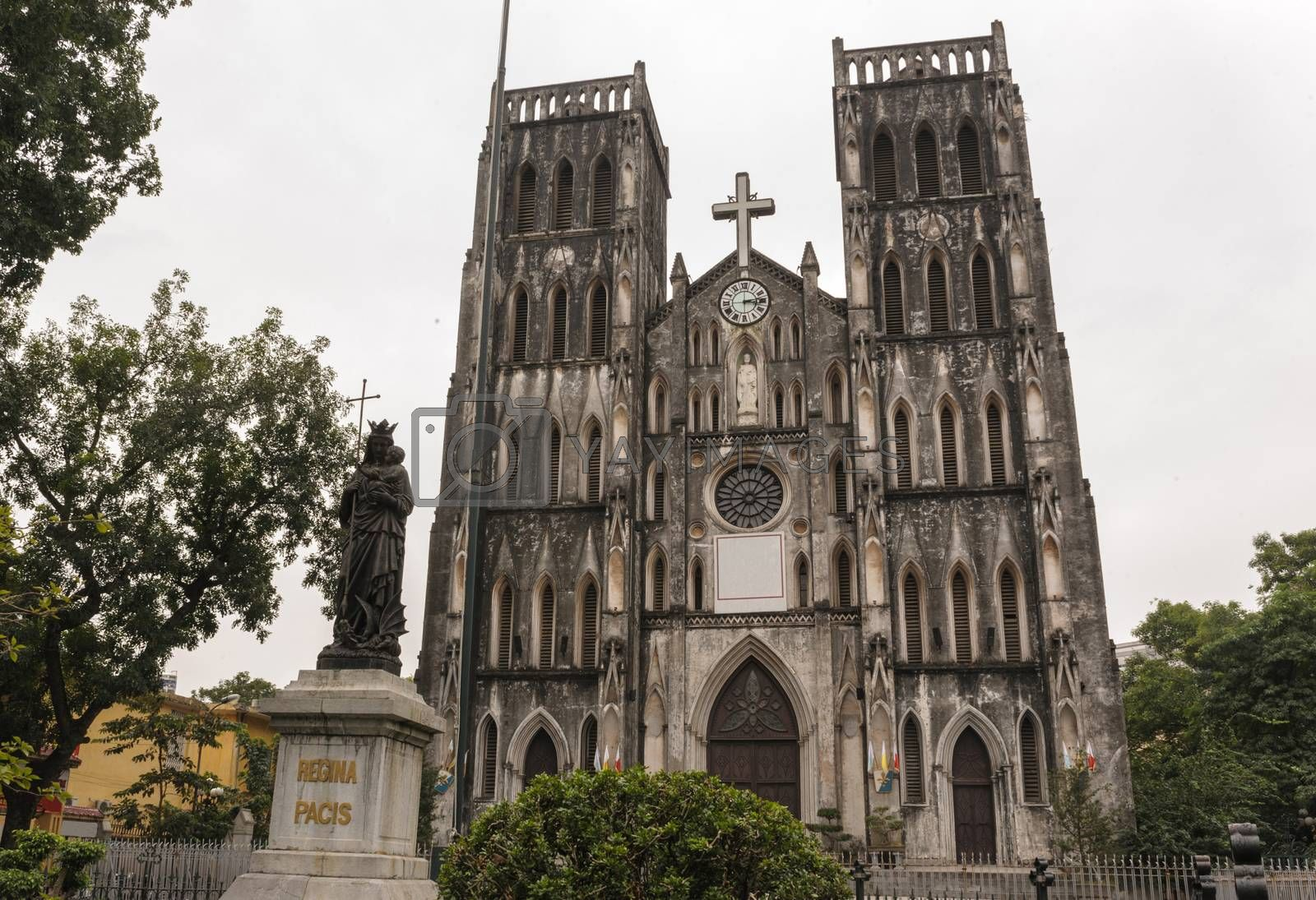 Architecture Gothic style of church the St. Joseph's Cathedral in Hoan Kiem Hanoi, Vietnam.