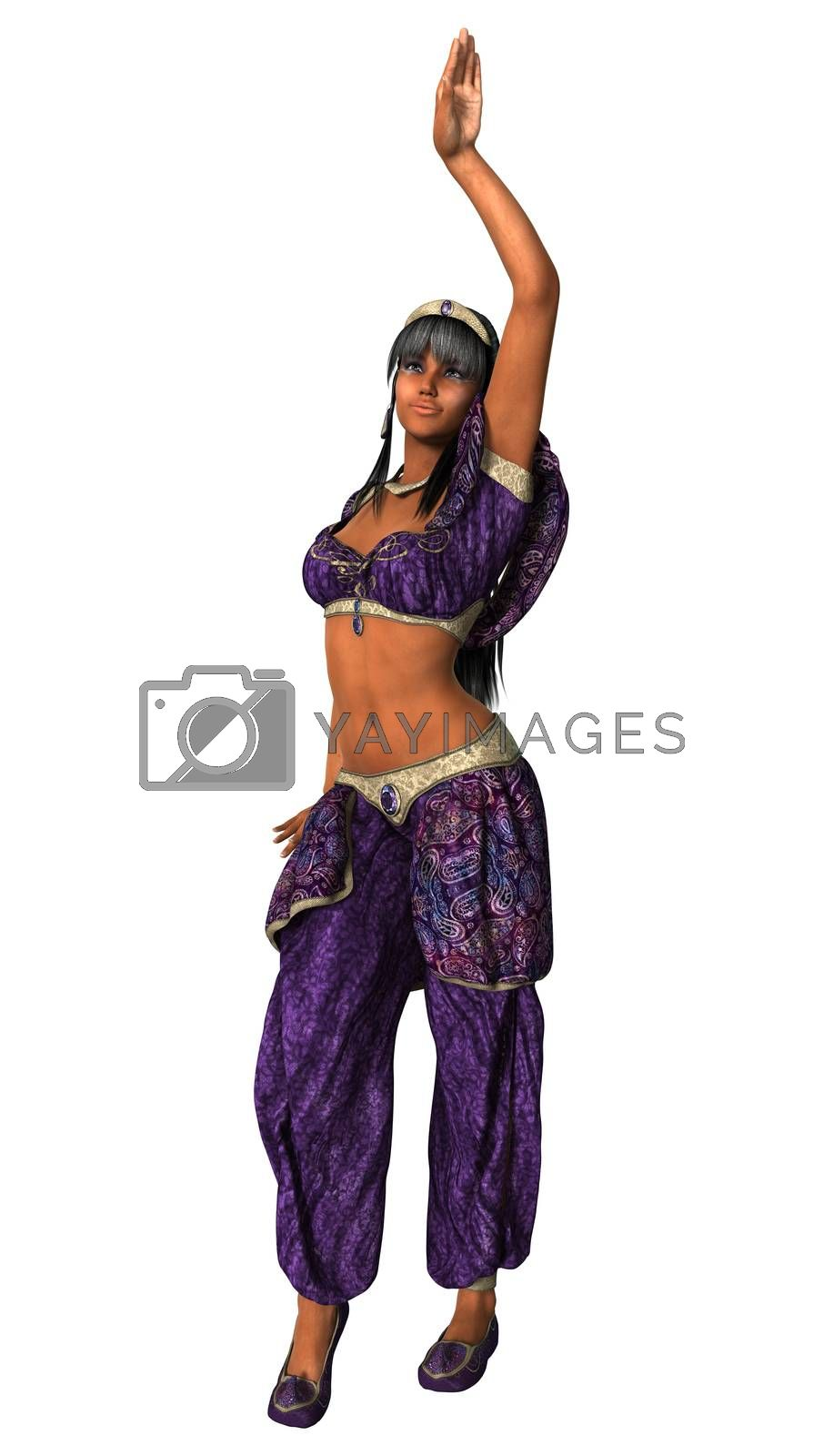3D digital render of a beautiful harem dancer isolated on white background