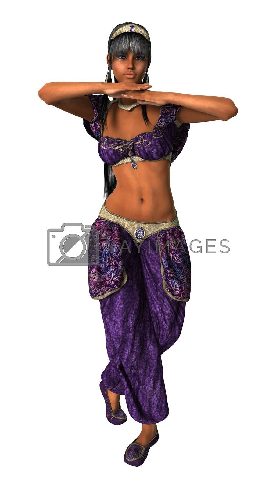3D digital render of a beautiful belly dancer isolated on white background