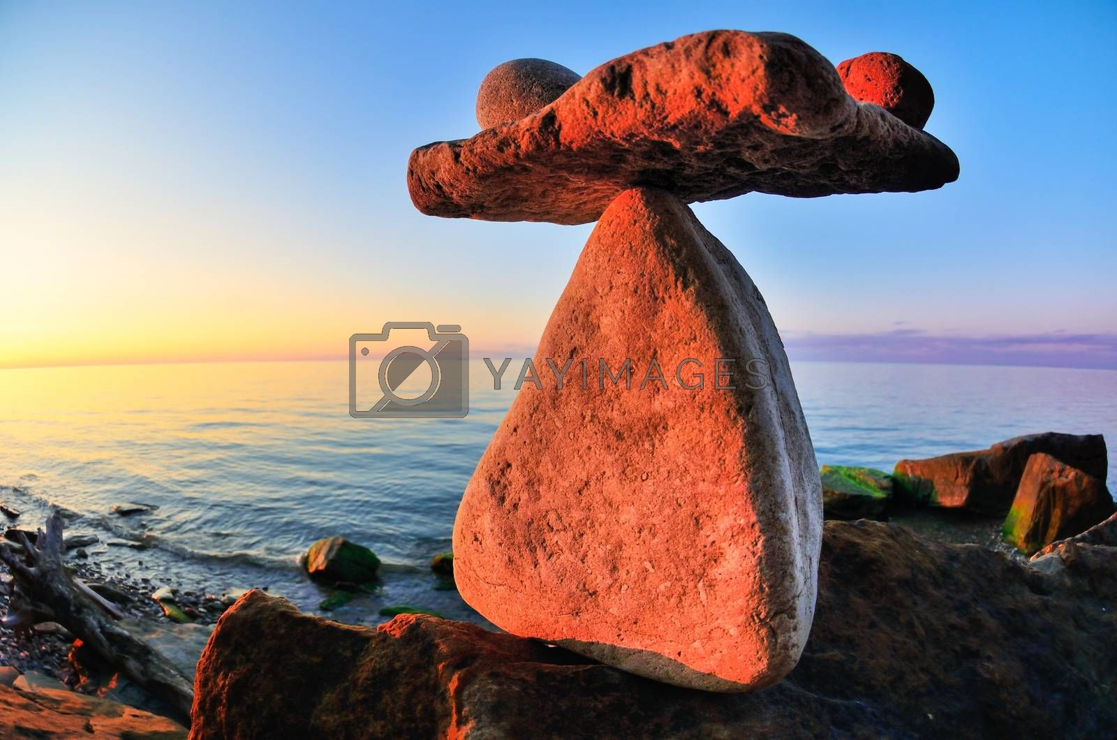 Stones at the seashore in sunrise time