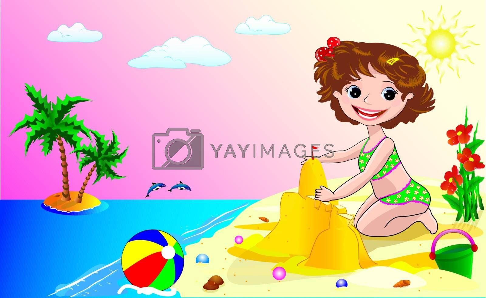 A child on the beach by liolle