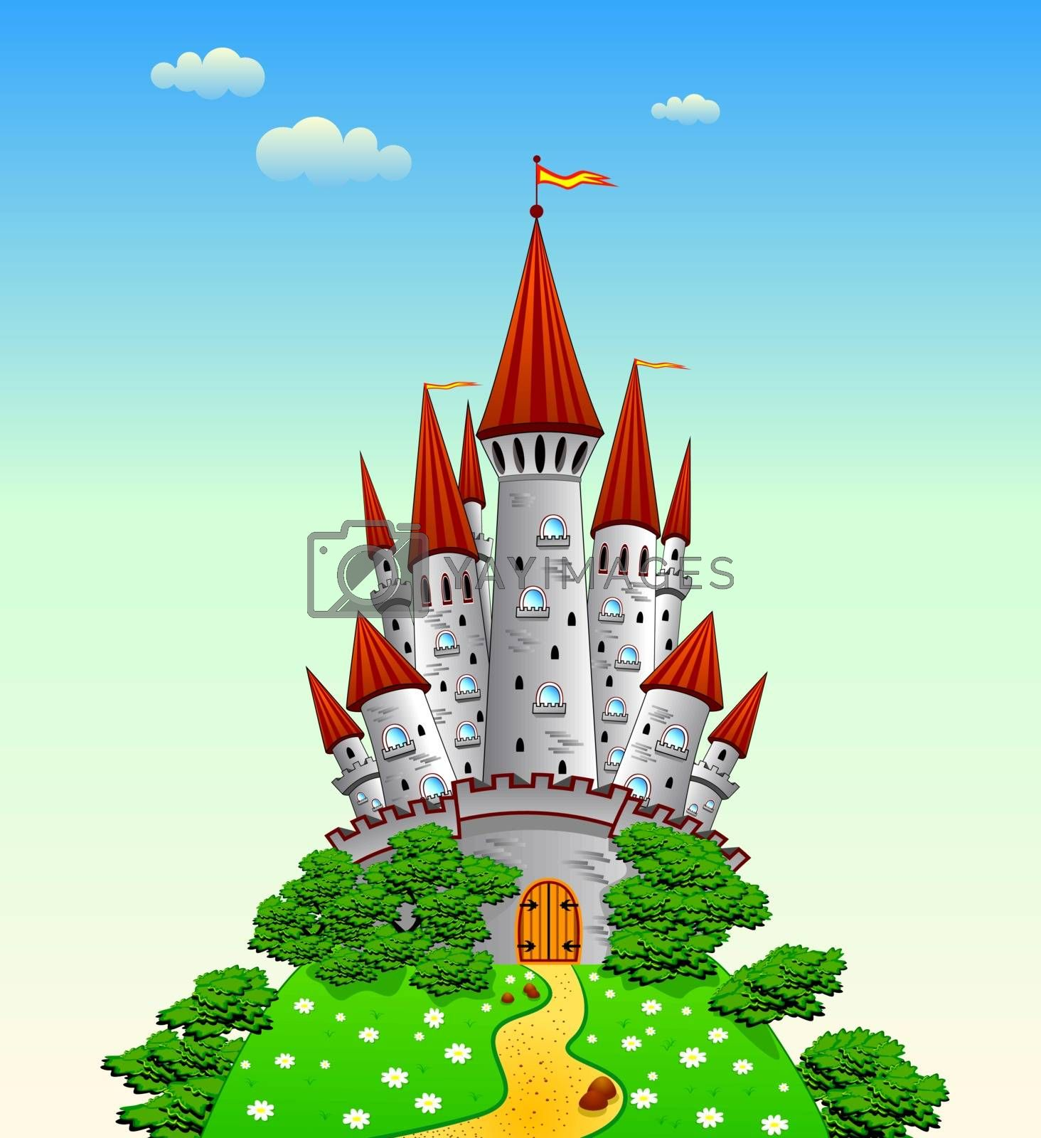 Cartoon castle on the hill.  An ancient castle.