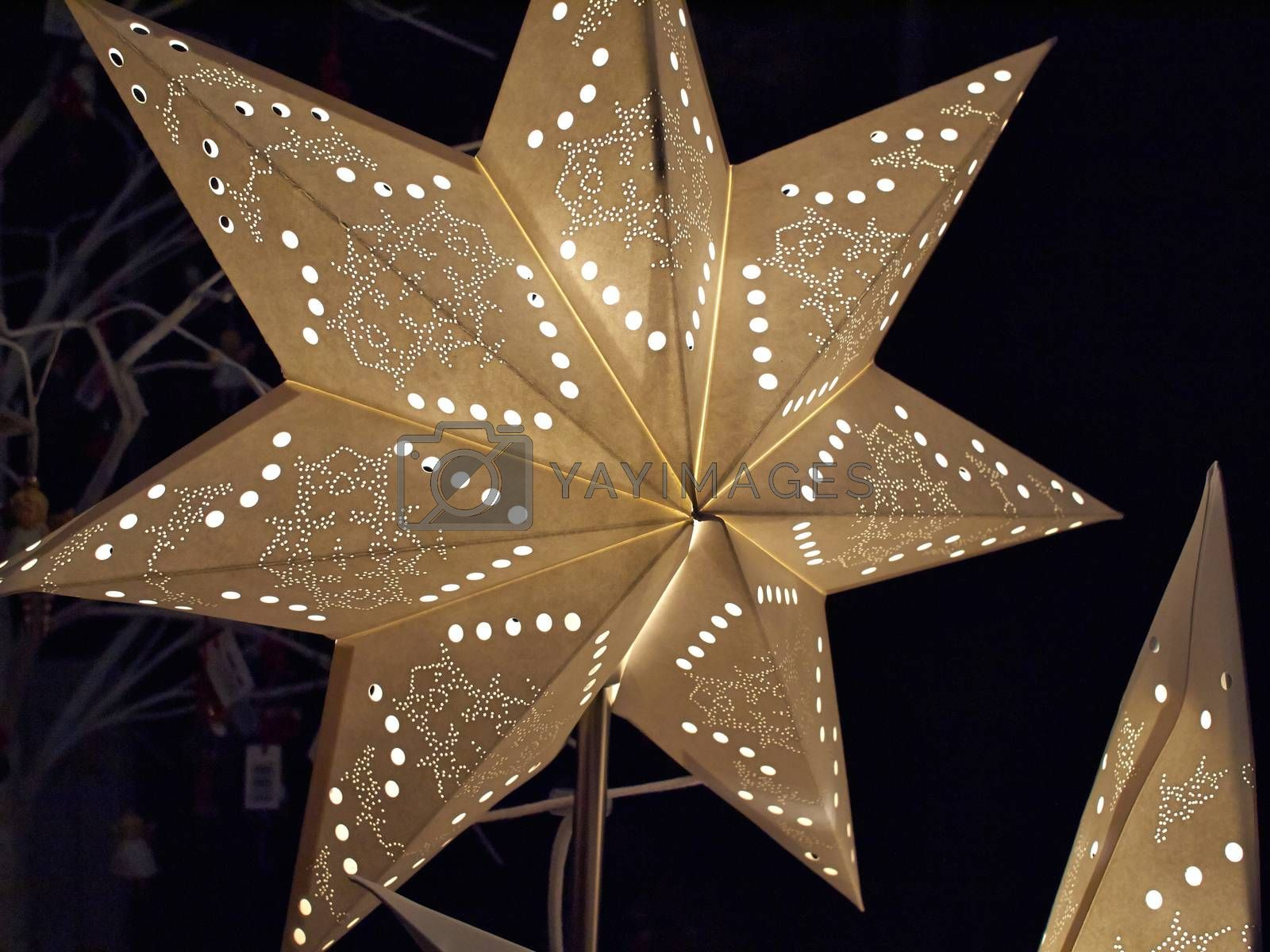 White glittering beautiful star shaped Christmas decoration by Ronyzmbow