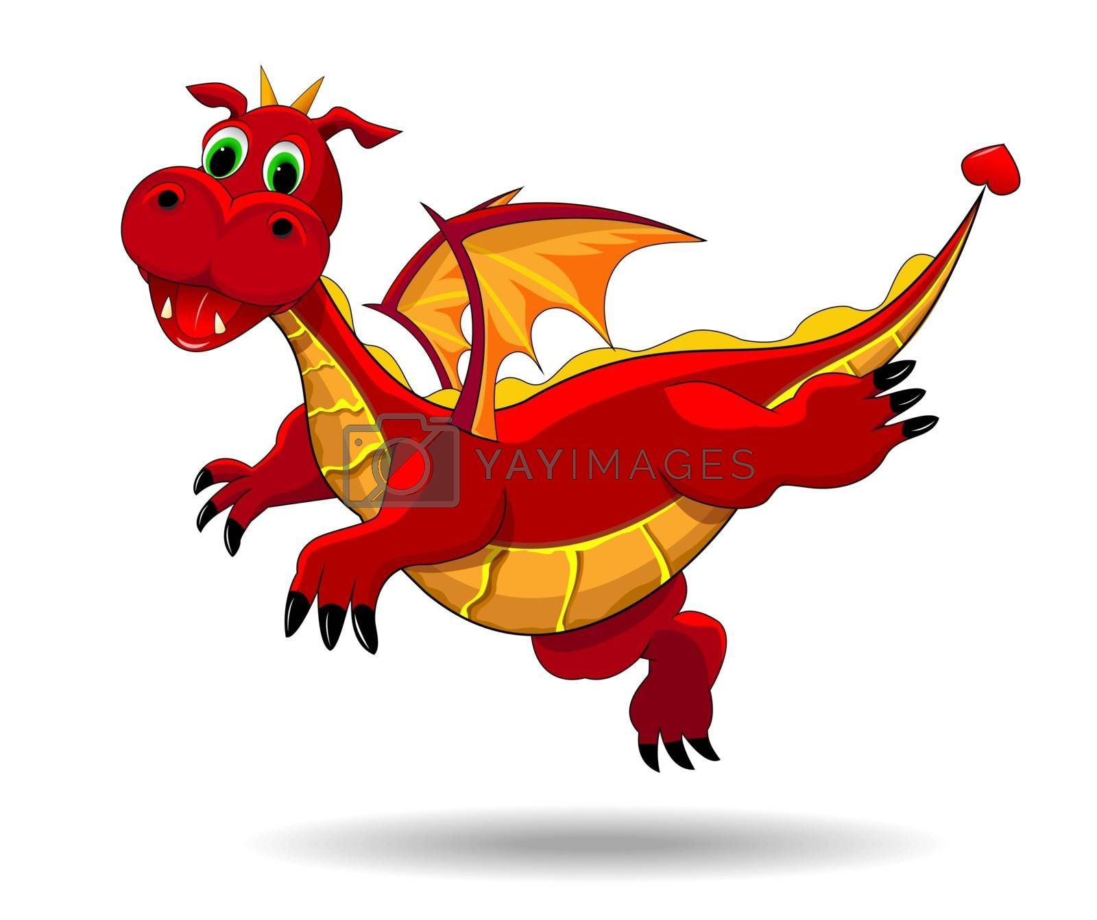 Red  dragon  on a white background. Flying dragon.