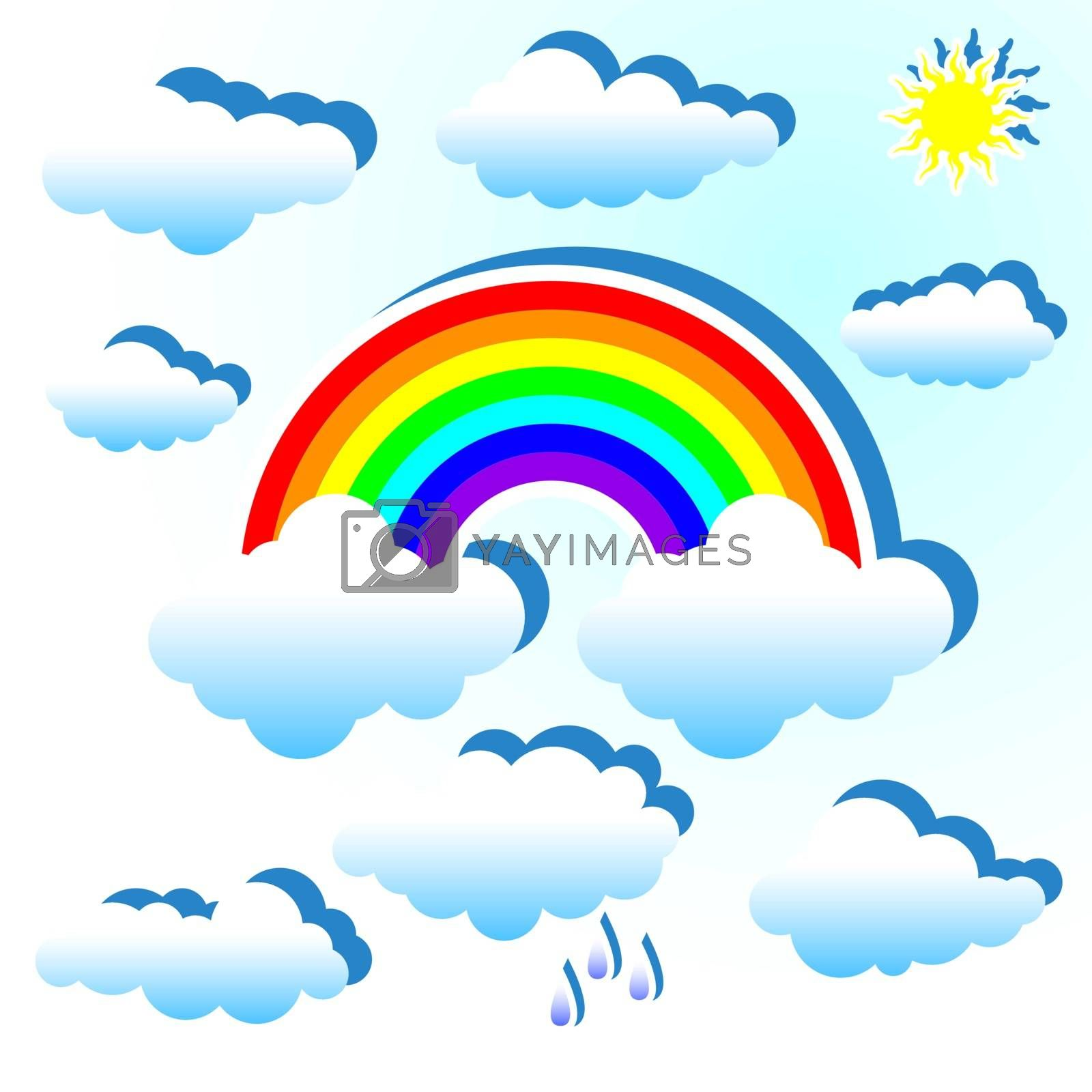 Clouds and rainbow by liolle