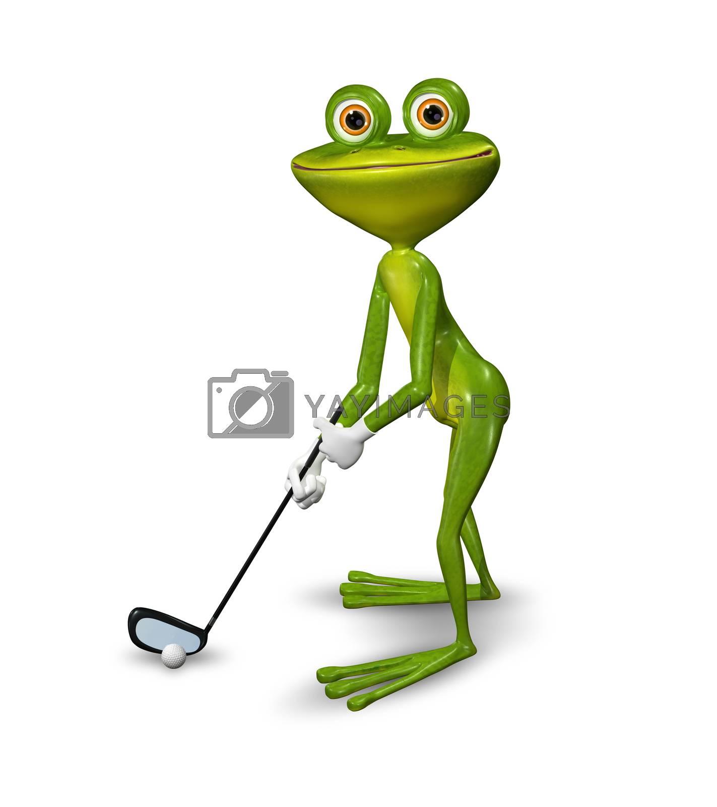 Illustration frog golfer on a white background