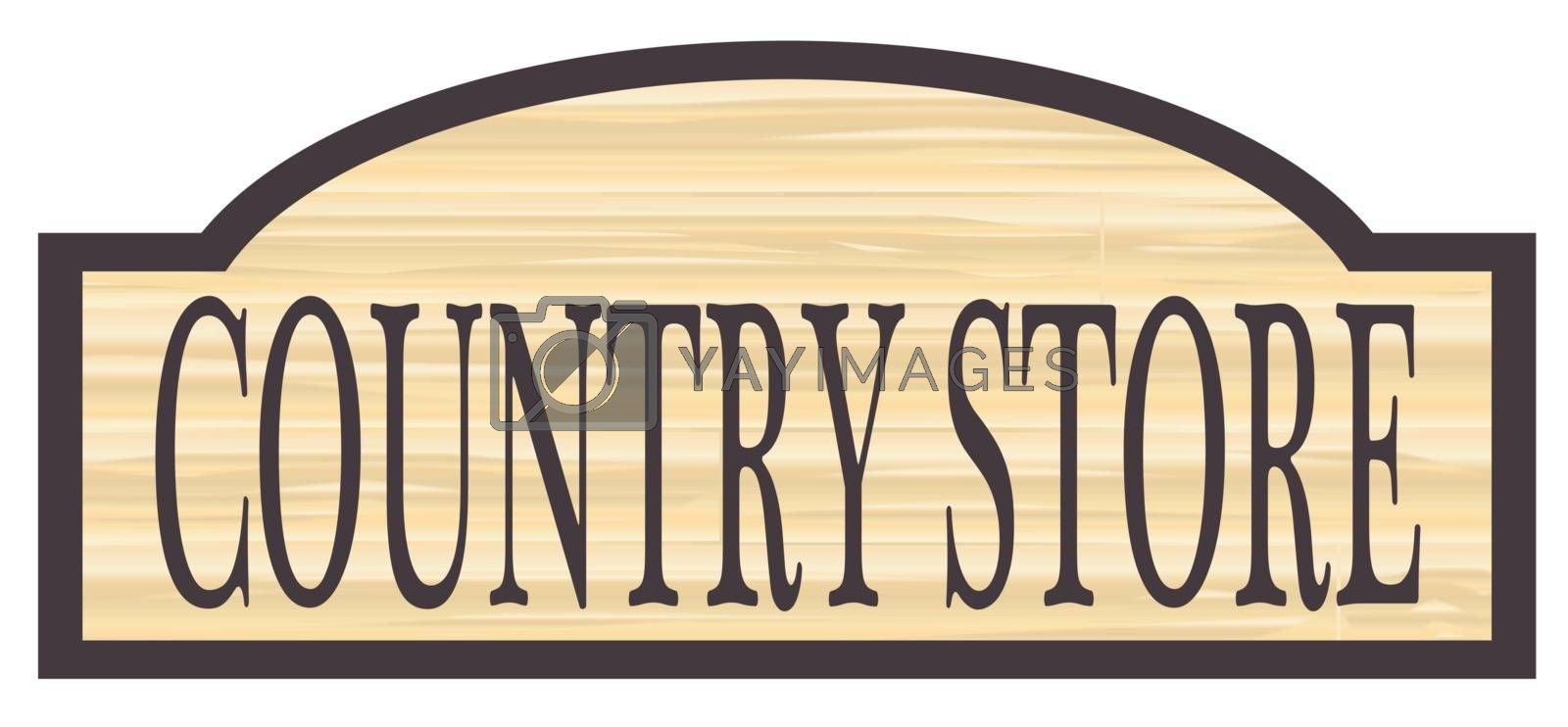 Country store stylish wooden store sign over a white background