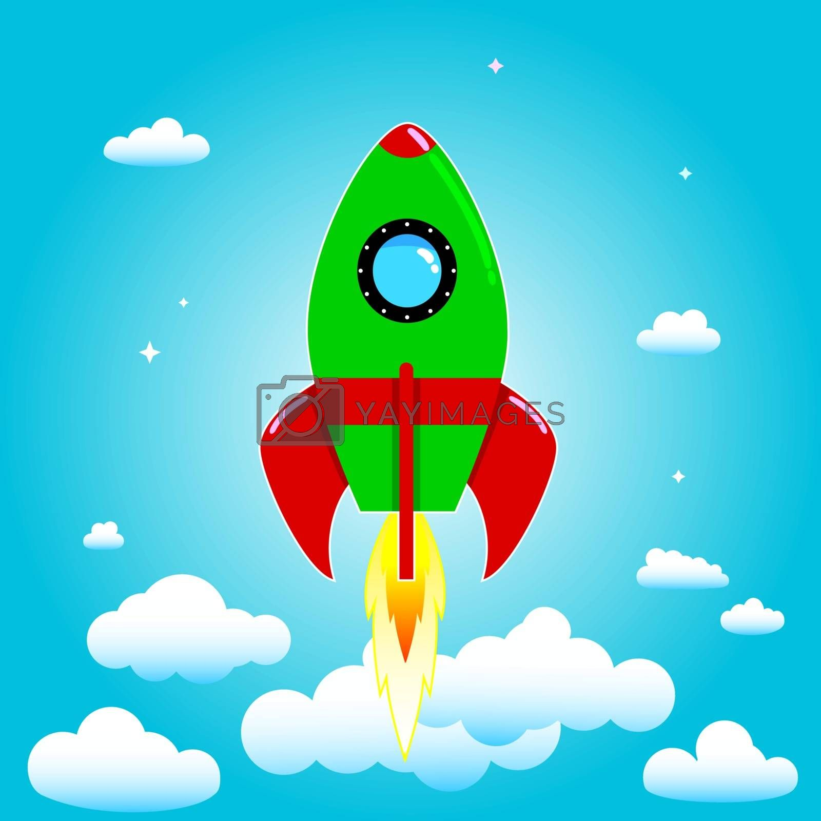 Space rocket on a background of blue sky and clouds.