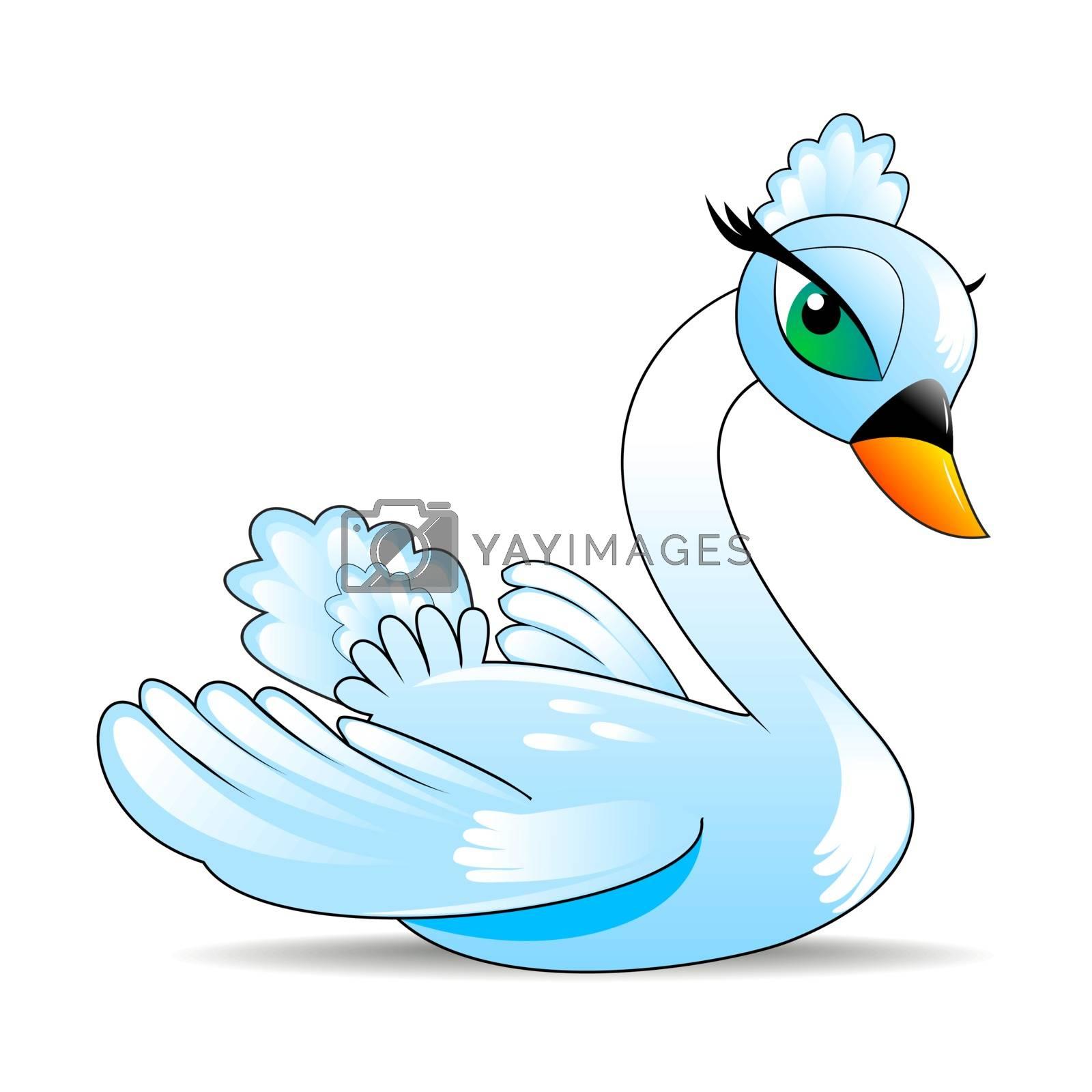 Bird swan. Cartoon swan on a white background.