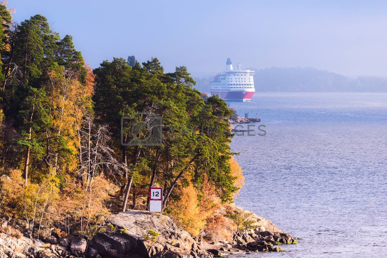 Landscape of Swedish sea fjord and cruise ship