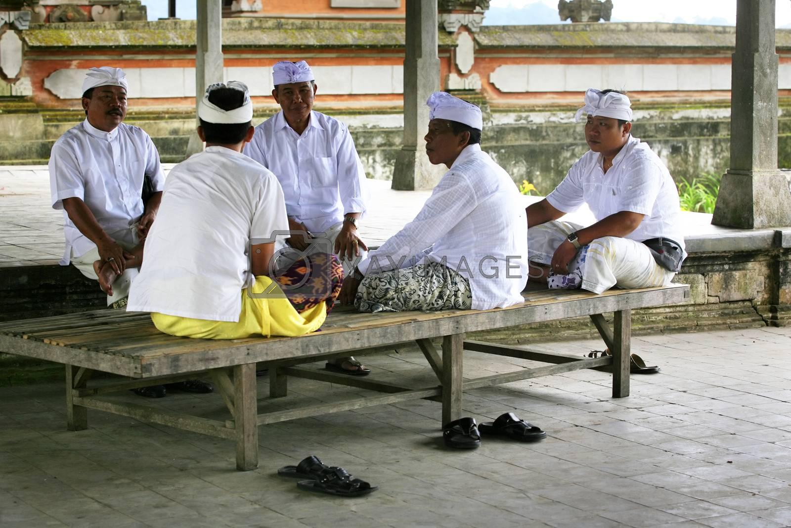 Ubud, Bali, Indonesia - November 09, 2008 : Buddhist monks in Ulun Danu Temple on Bali
