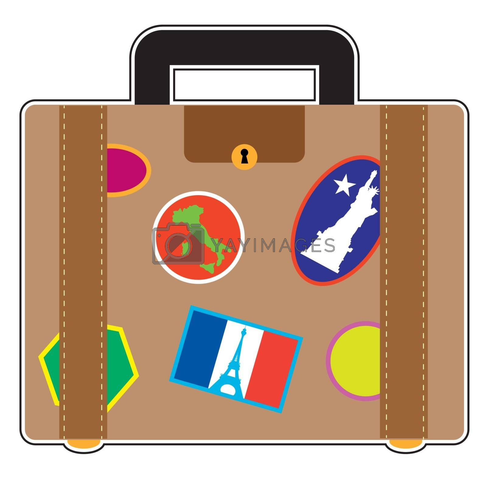 A suitcase covered in stickers from France, Italy and the United States