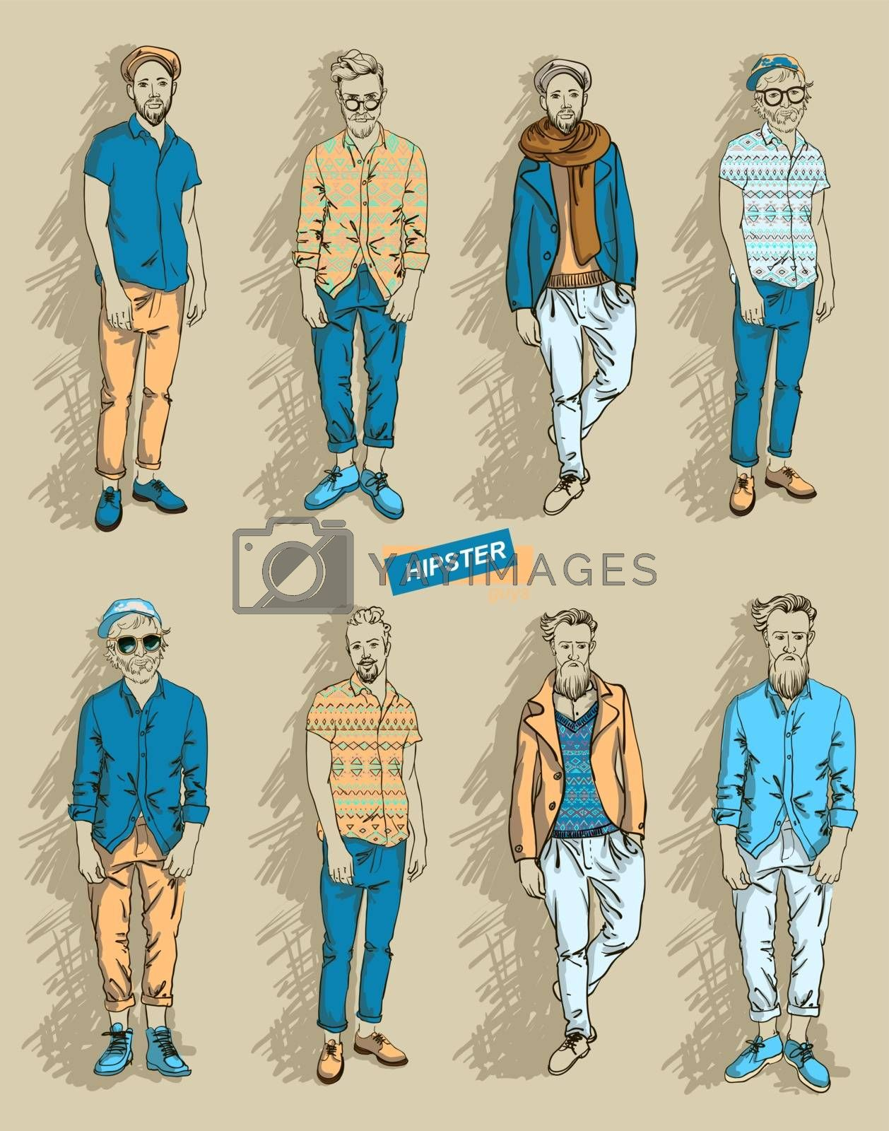Hipster man in fashion set by OlgaBerlet