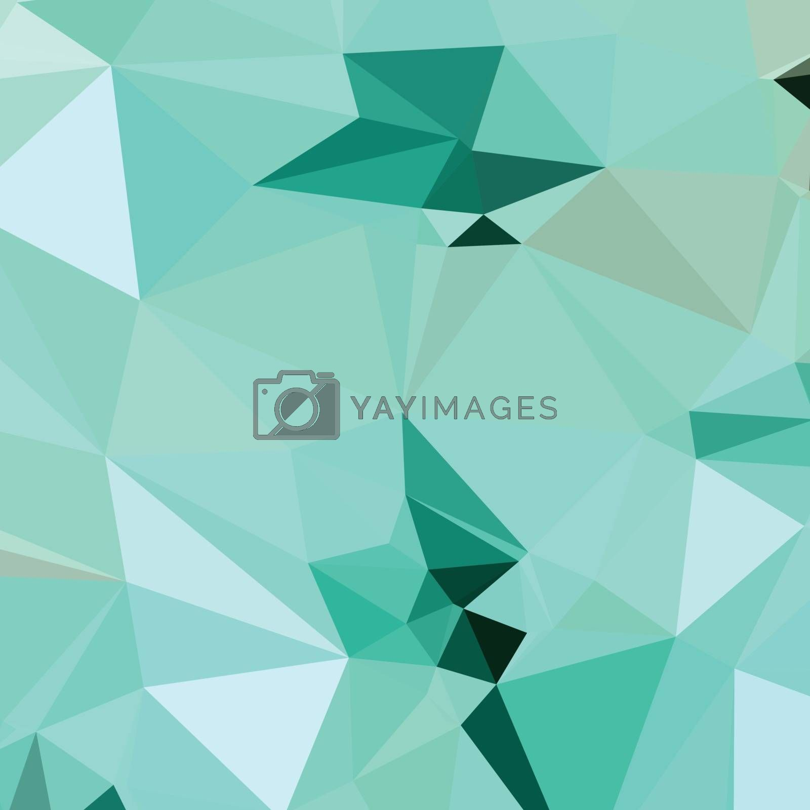 Low polygon style illustration of caribbean green abstract geometric background.