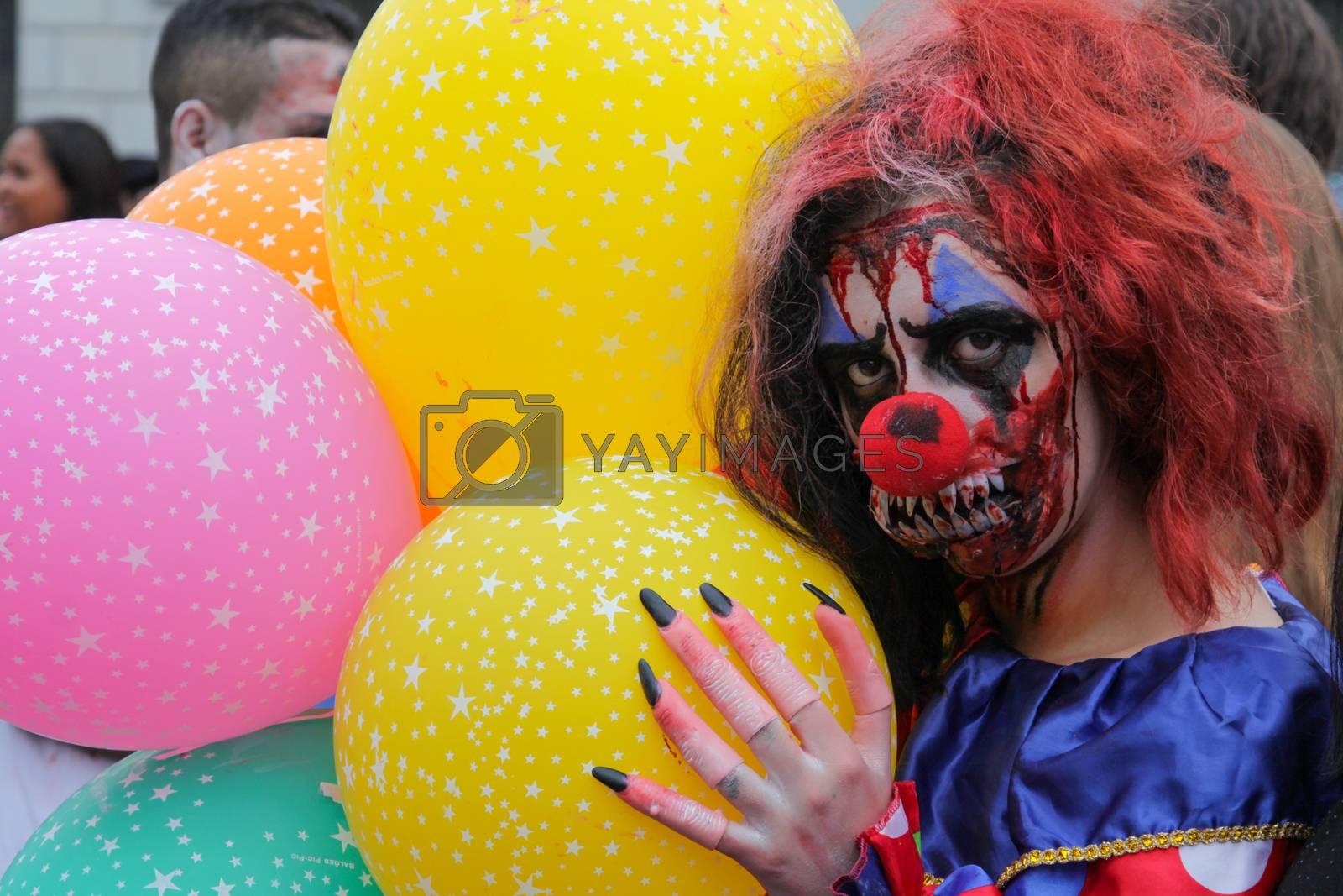 Sao Paulo, Brazil November 11 2015: An unidentified man in clown costumes in the annual event Zombie Walk in Sao Paulo Brazil.
