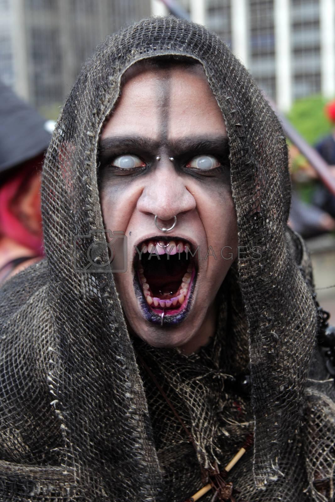 Sao Paulo, Brazil November 11 2015: An unidentified man in scare costumes in the annual event Zombie Walk in Sao Paulo Brazil.