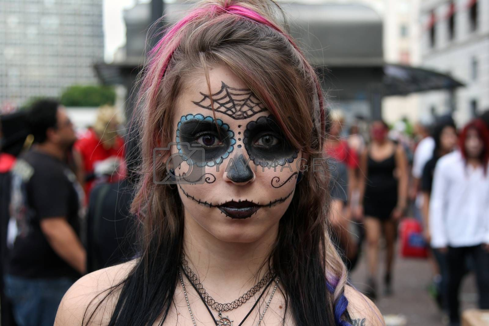 Sao Paulo, Brazil November 11 2015: An unidentified beautiful girl in traditional costumes in the annual event Zombie Walk in Sao Paulo Brazil.