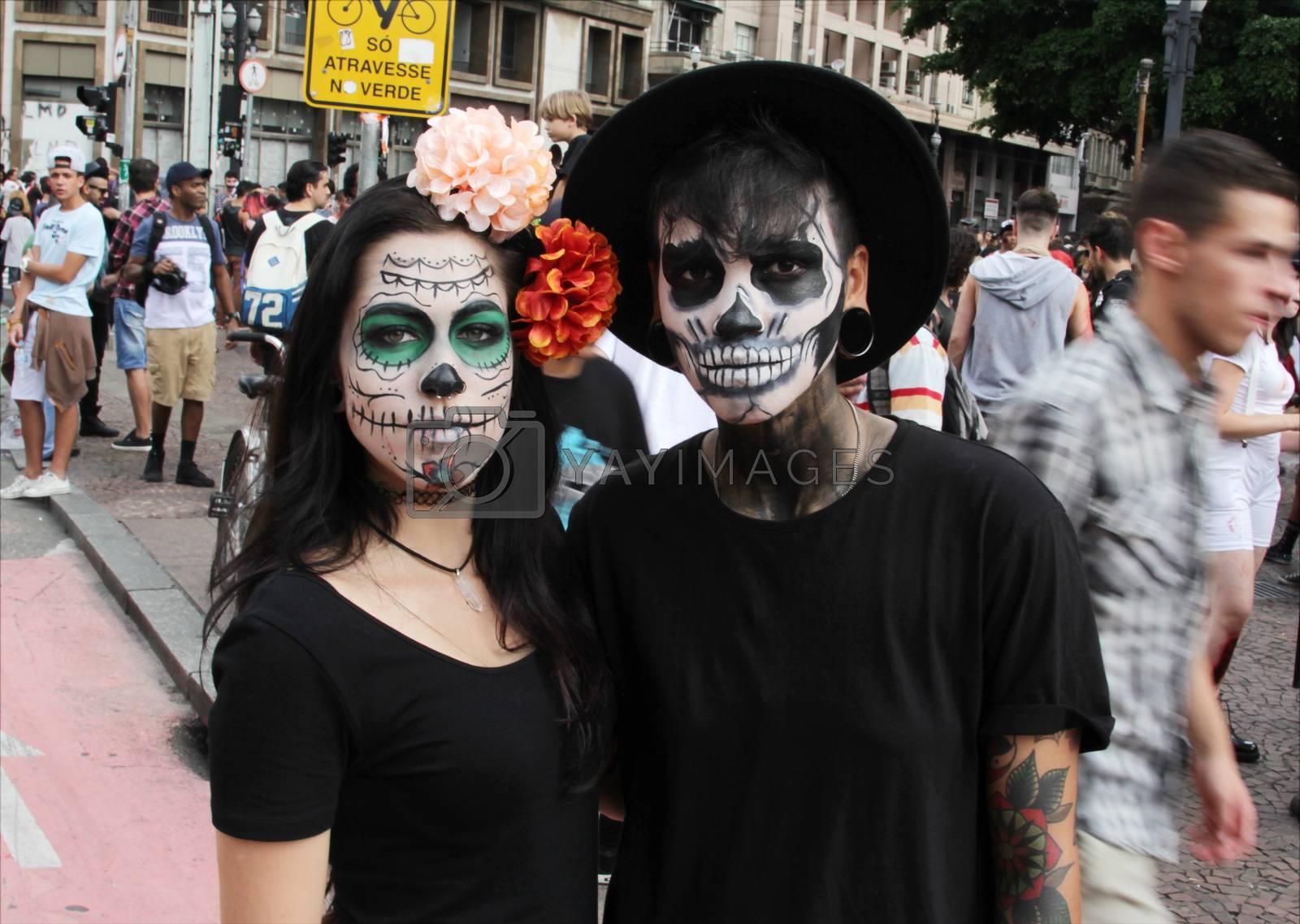 Sao Paulo, Brazil November 11 2015: An unidentified couple of skulls in the annual event Zombie Walk in Sao Paulo Brazil.