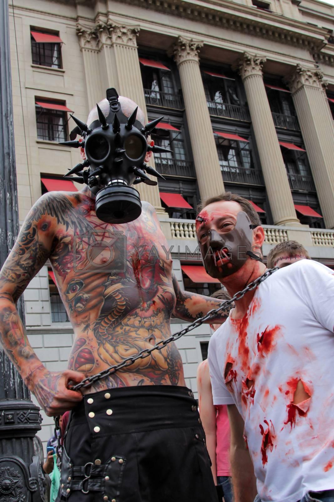 Sao Paulo, Brazil November 11 2015: Two unidentified men in costumes in the annual event Zombie Walk in Sao Paulo Brazil.