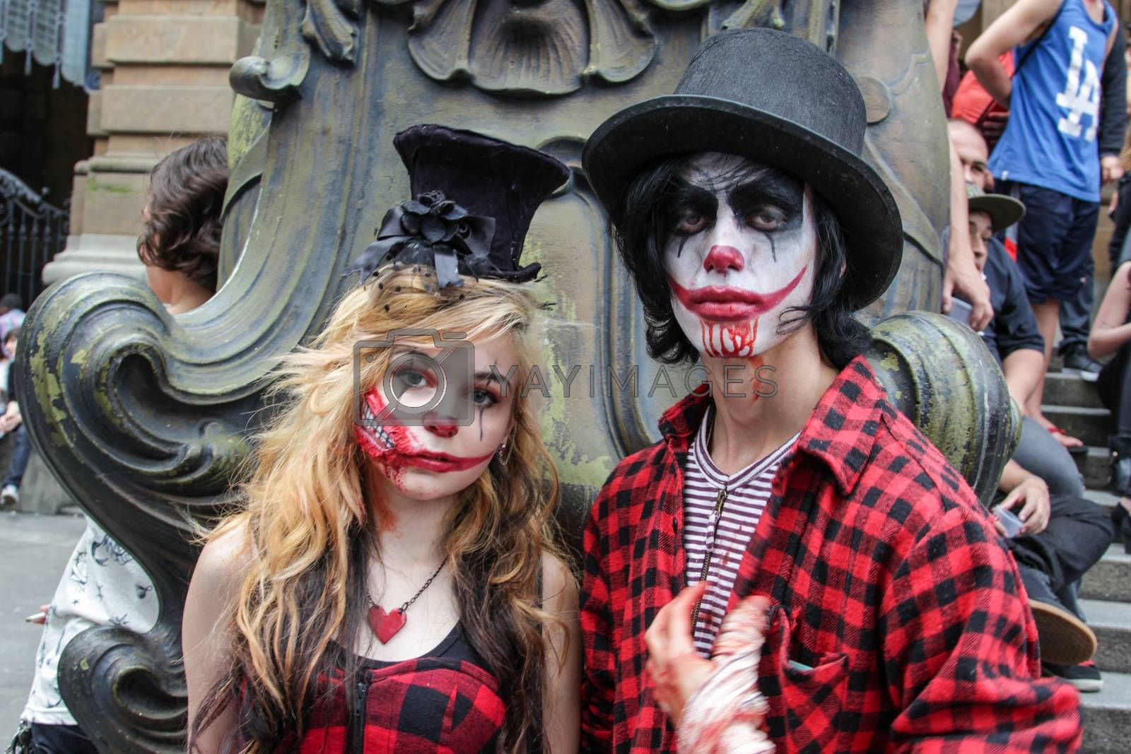 Sao Paulo, Brazil November 11 2015: An unidentified couple with costumes in the annual event Zombie Walk in Sao Paulo Brazil.