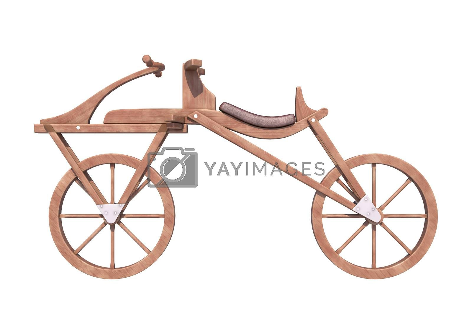 3D digital render of an old fashioned bicycle isolated on white background