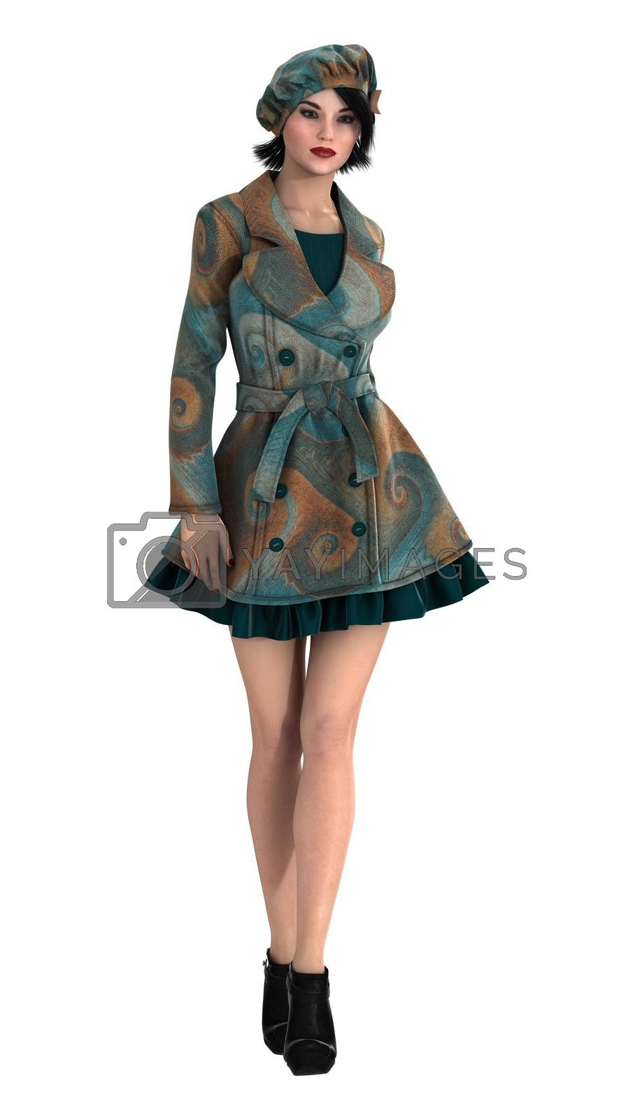 3D digital render of a beautiful vintage woman isolated on white background