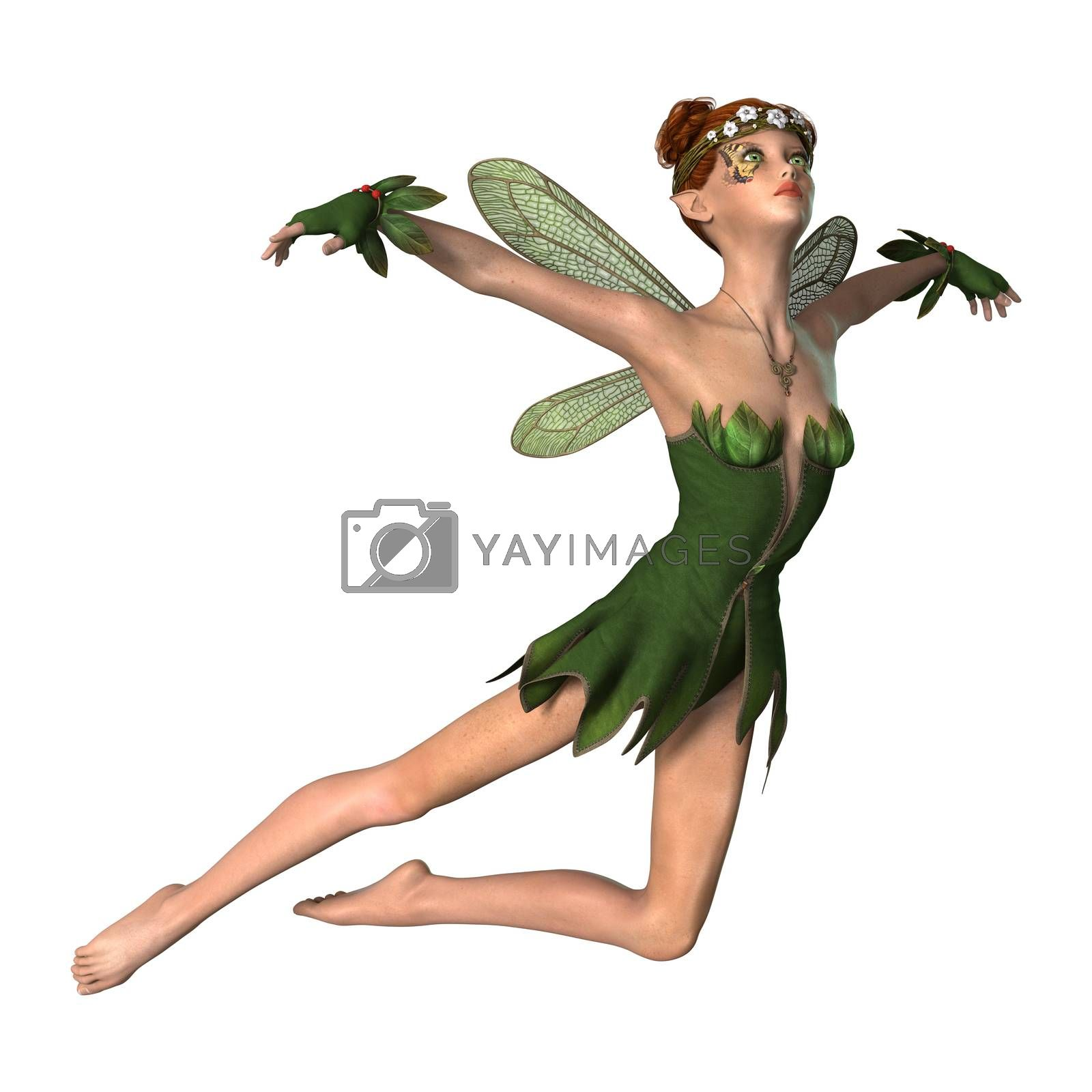 3D digital render of a green fantasy spring fairy isolated on white background