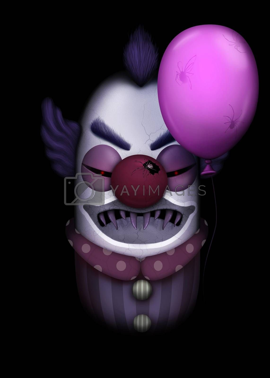 Dark clown with balloon full of spiders