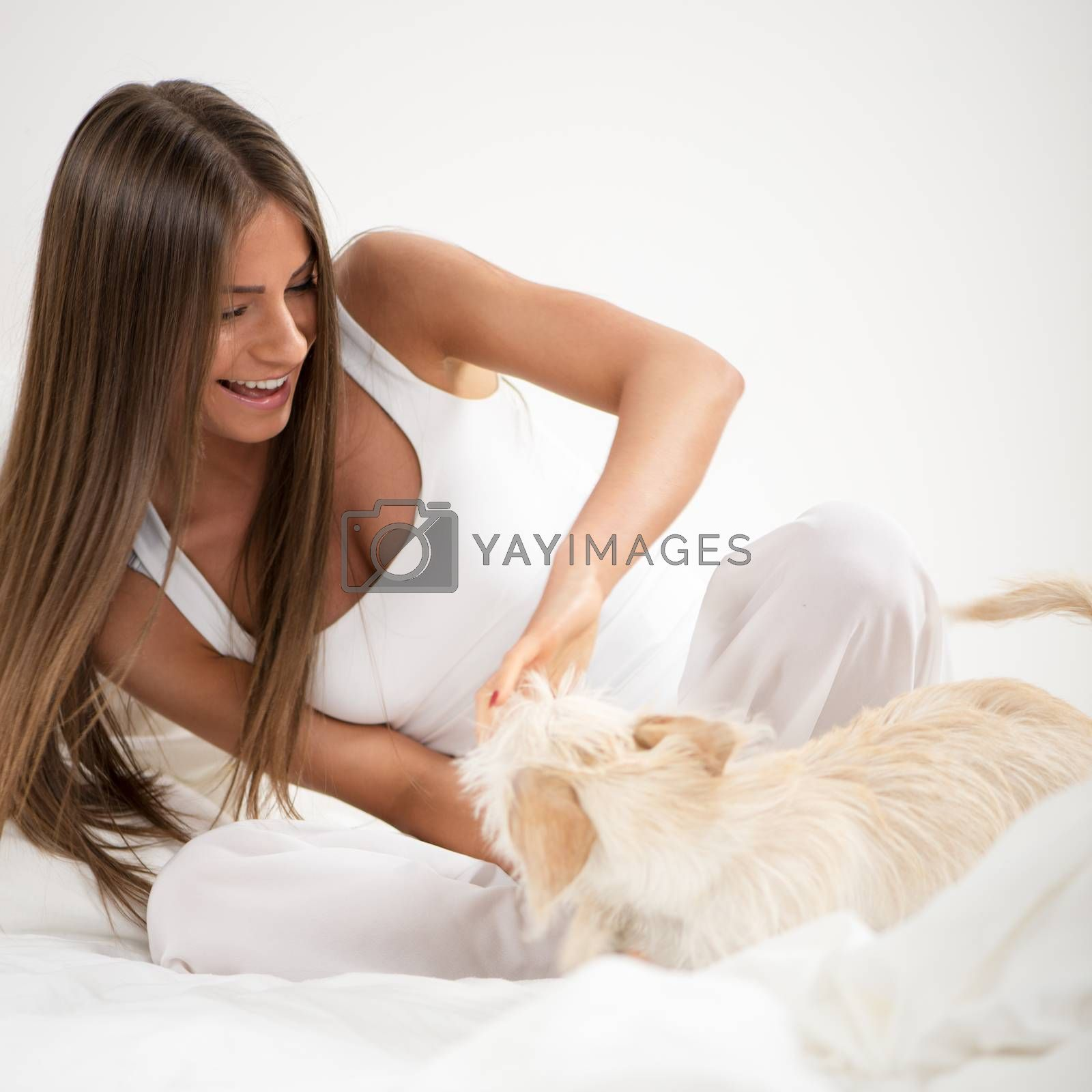 Young beautiful woman and her dog playing in bed