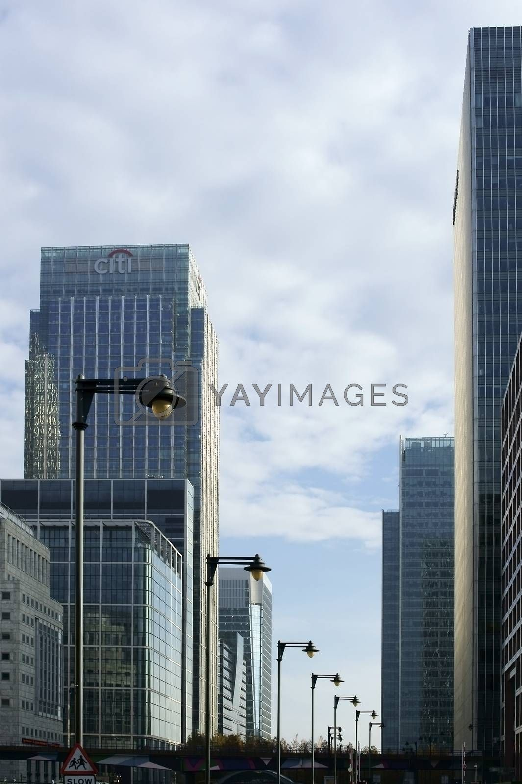 London, UK  - November 29, 2014: The modern office building of Citigroup as well as other banks and skyscrapers in the financial district Canary Wharf on November 29, 2014 in London.