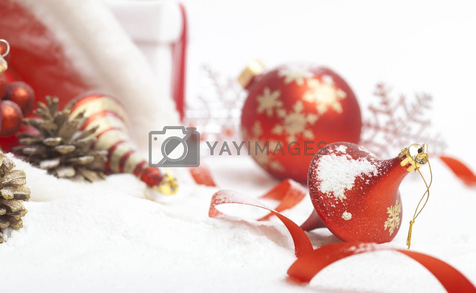 Christmas ball with red bow  by anelina