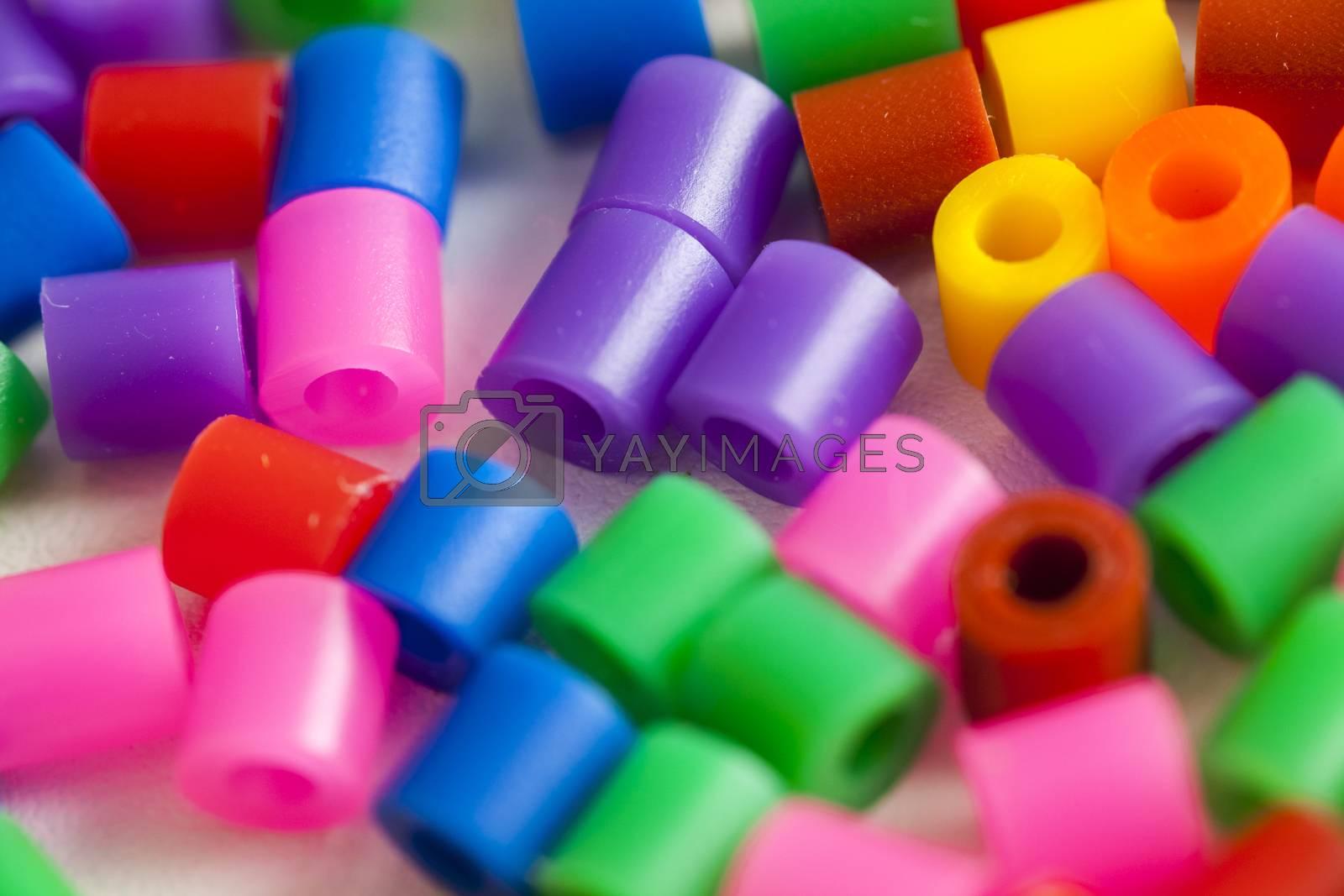 plastic beads many rainbow colors