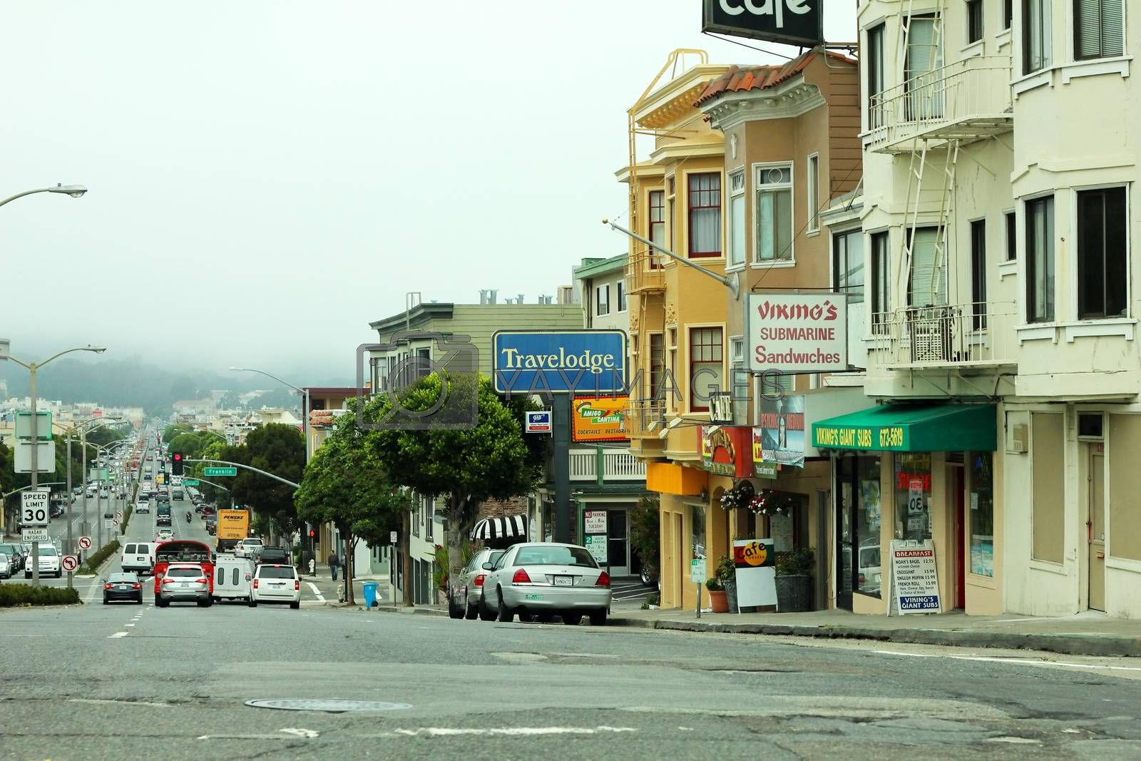 San Francisco, CA, USA - September 13, 2011: view of the street in the future with fog in the background, characteristic of San Francisco