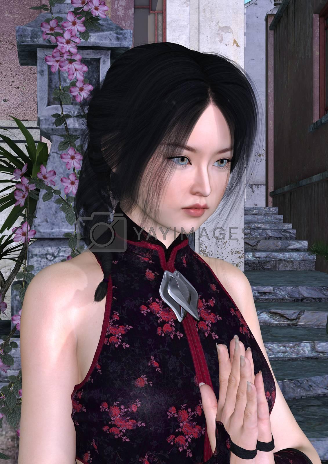 3D digital render of an Asian beauty on an alod street background