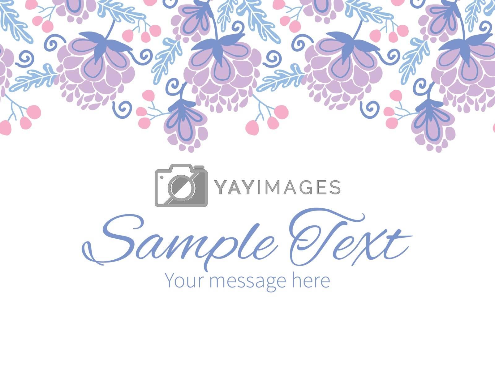 Vector soft purple flowers horizontal border greeting card invitation template graphic design