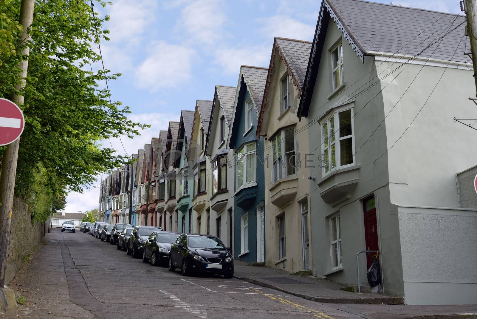 street view of houses on a steep hill in cobh county cork ireland