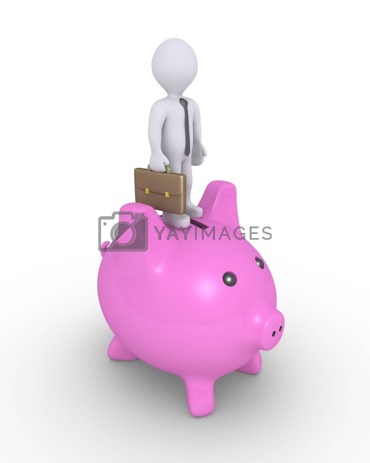 Businessman is standing on top of a pig money box