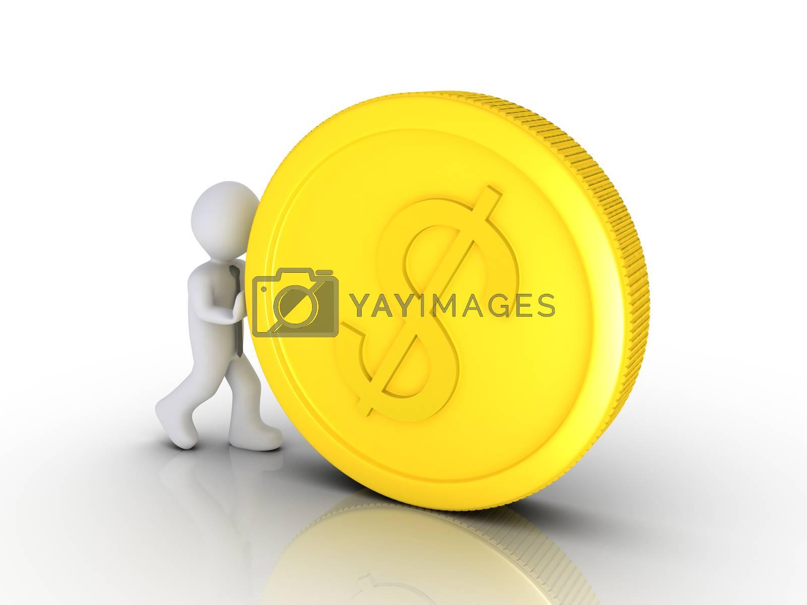 Businessman is pushing a big dollar coin