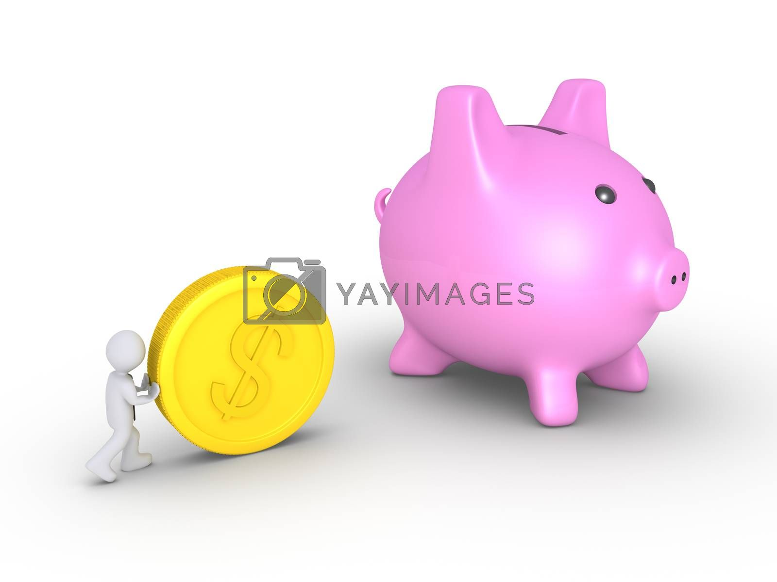 Businessman is pushing a big dollar coin towards a pig money box