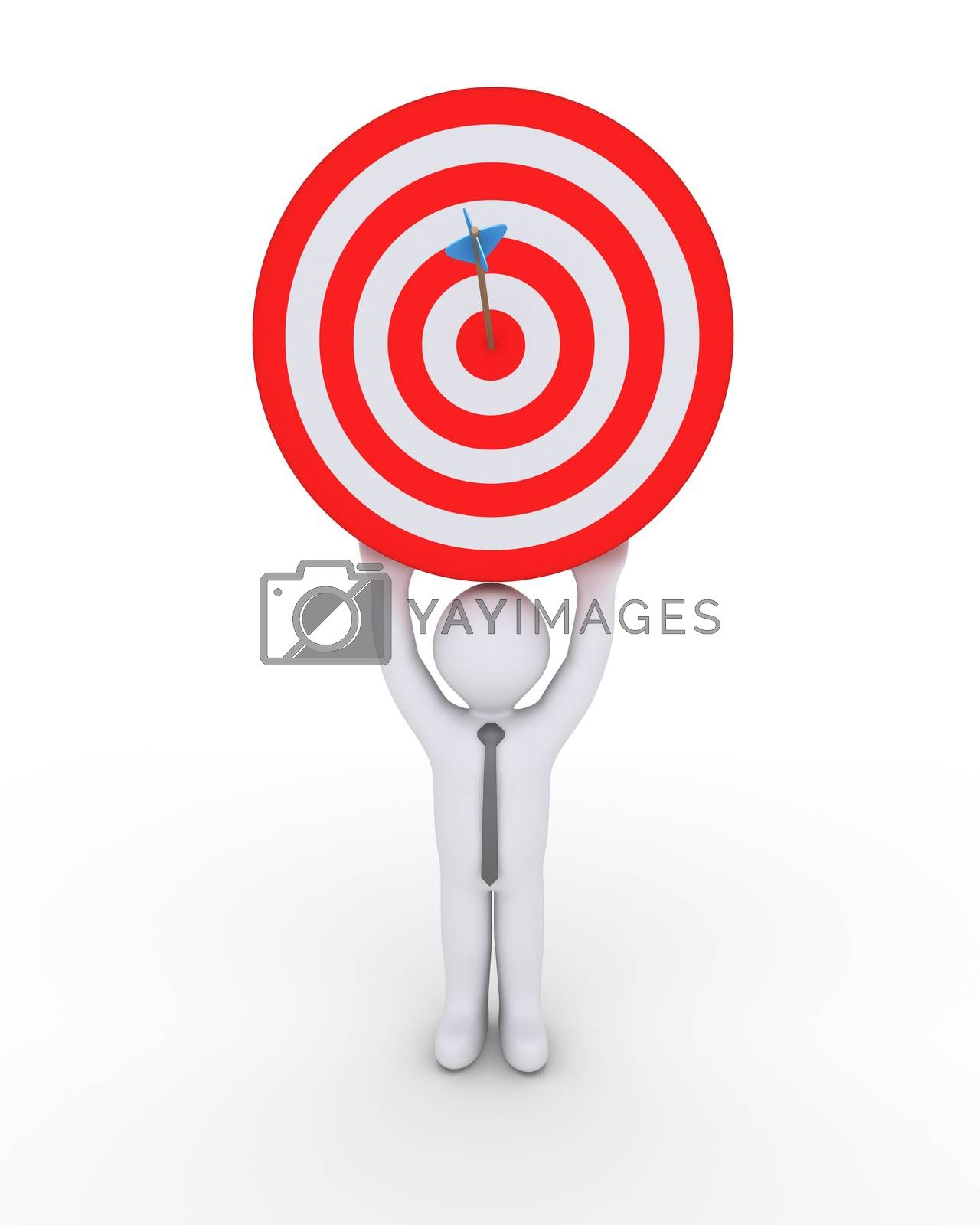 Businessman holding high a target with an arrow at the center