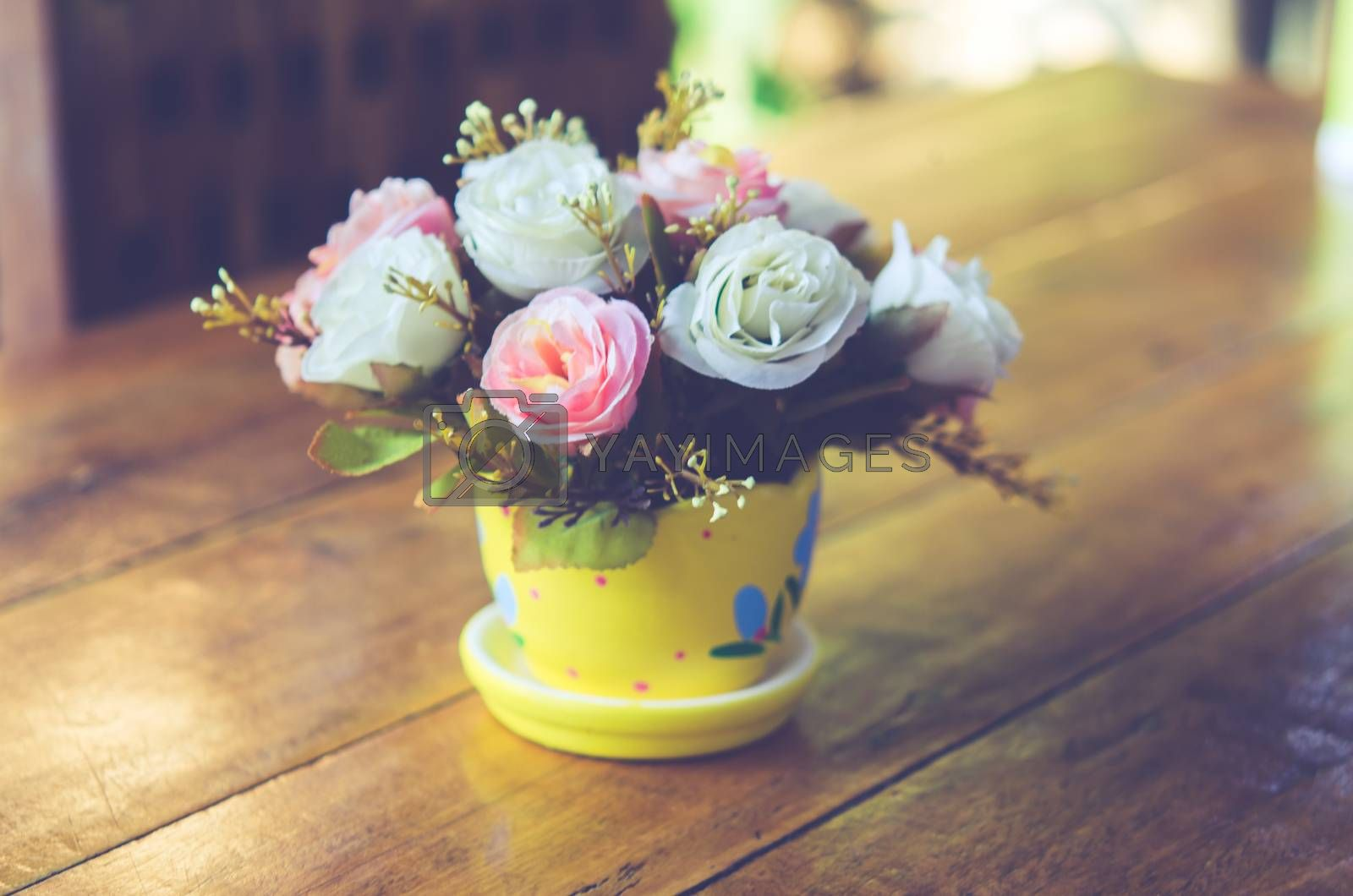 flowers on the table.vintage color tone