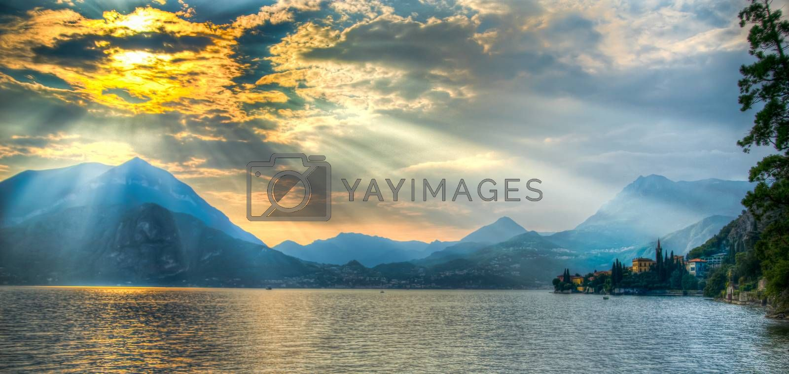 Romantic sunset in town Varenna on Como lake of Lombardy