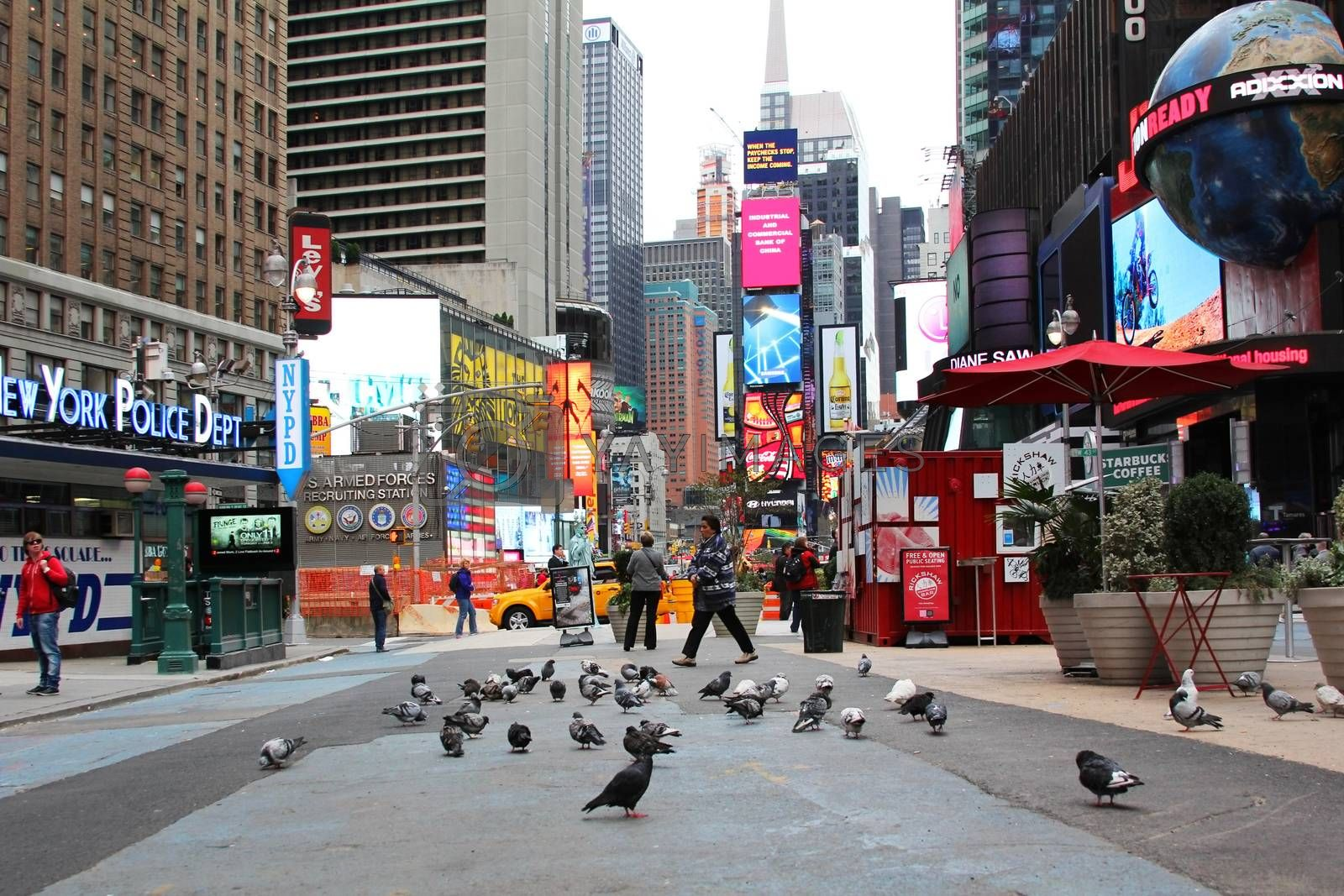 New York, NY, USA - October 12, 2012: Times Square, featured with Broadway Theaters and huge number of LED signs, is a symbol of New York City and the United States, October 12, 2012 in Manhattan, New York City
